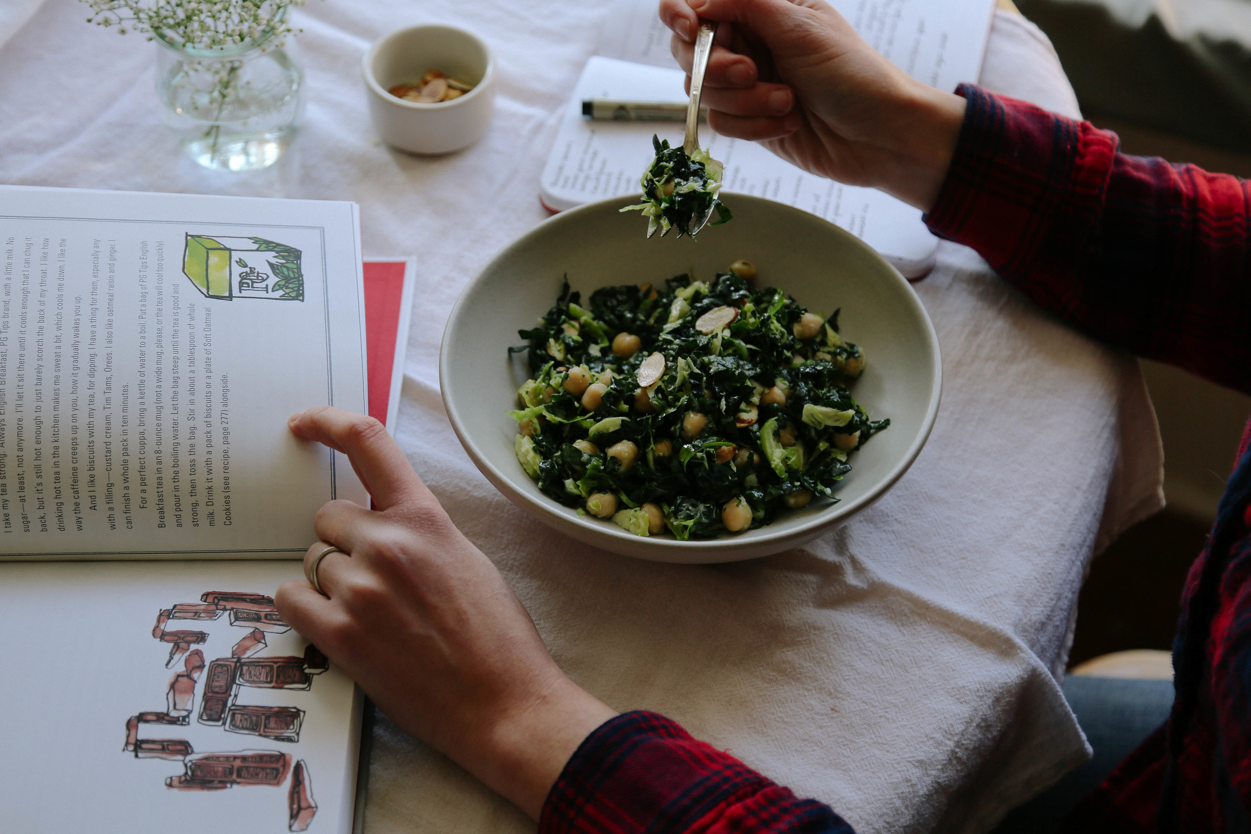 field + forest | kale salad with chickpeas, almonds, and pecornio
