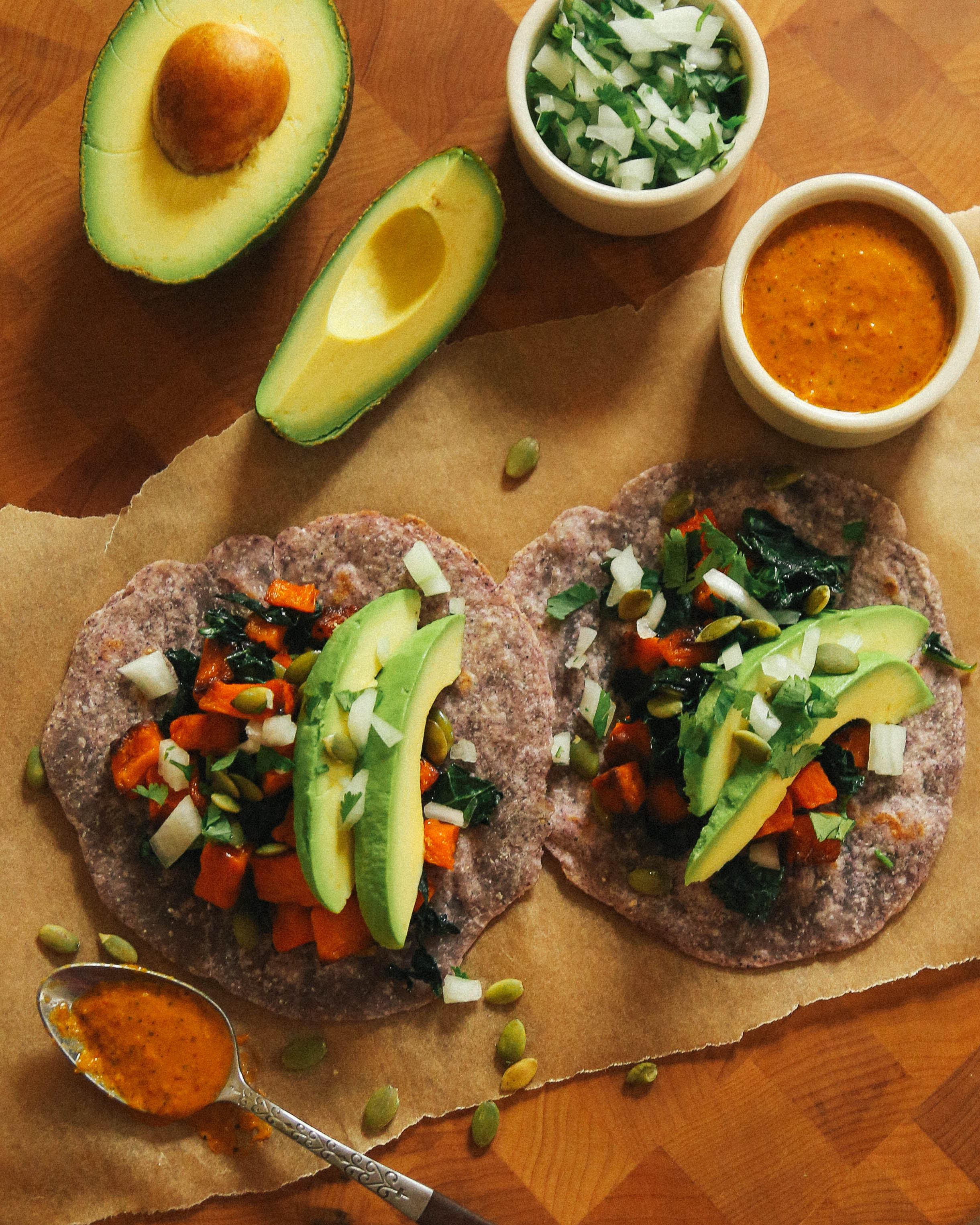 vegan vegetable tacos with aji amarillo sauce