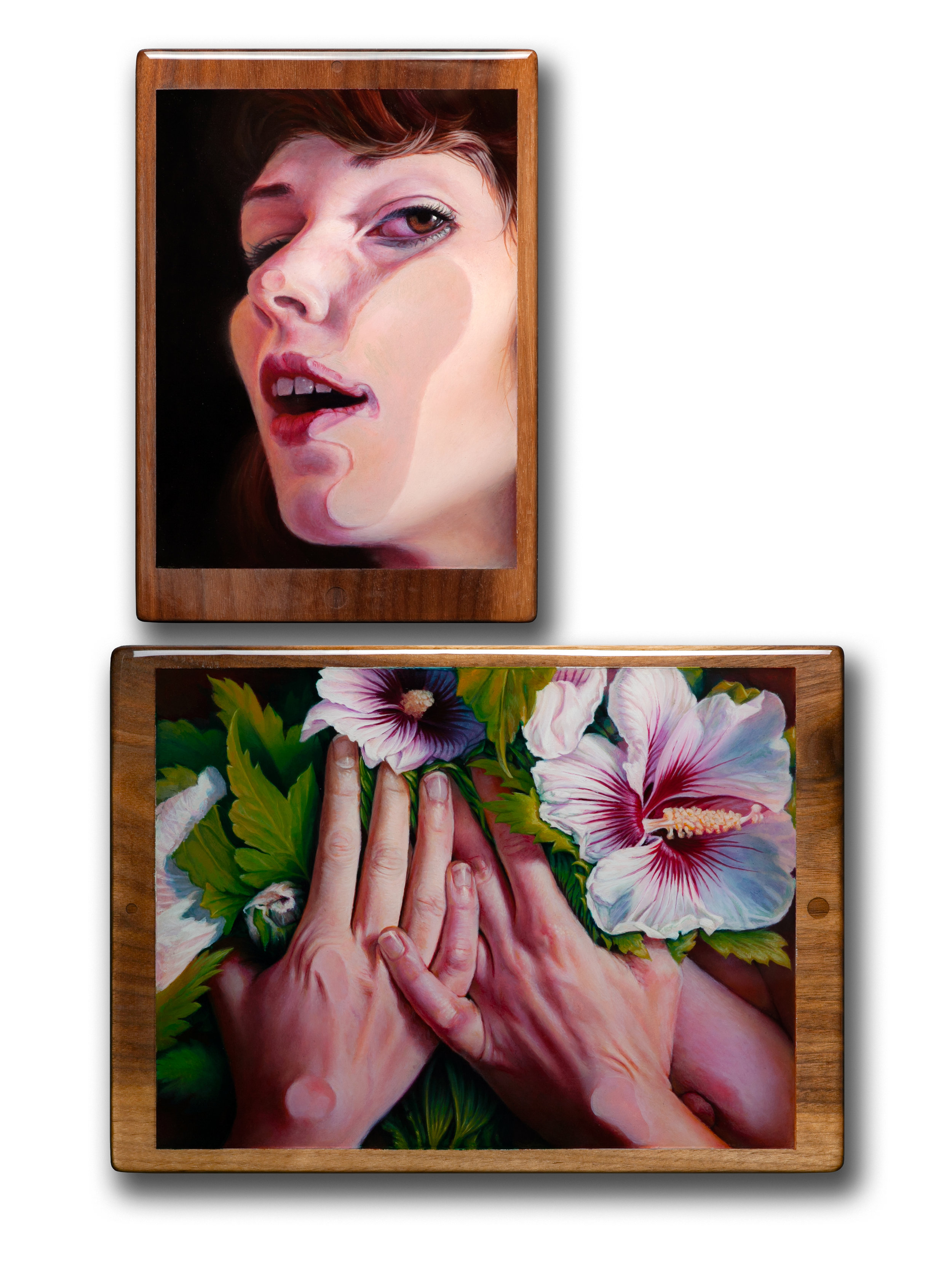 iPressed, oil on western walnut hardwood iPad replicas, 6.5x9 and 8.5x12 inches, 2016. Private collection.