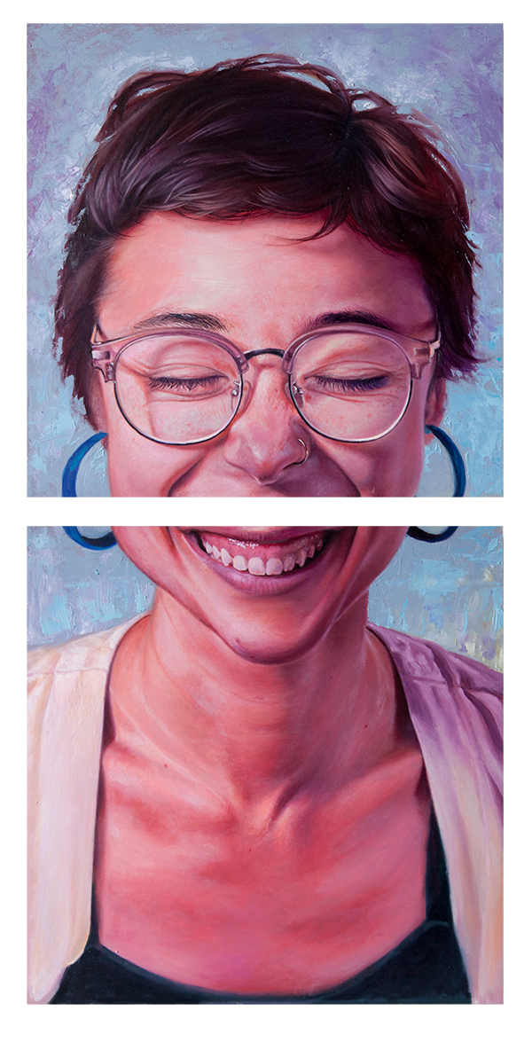 Split Personality, oil on wood, 16x32 inches diptych, 2018. Email AustinEddy@gmail.com for purchase enquiries.