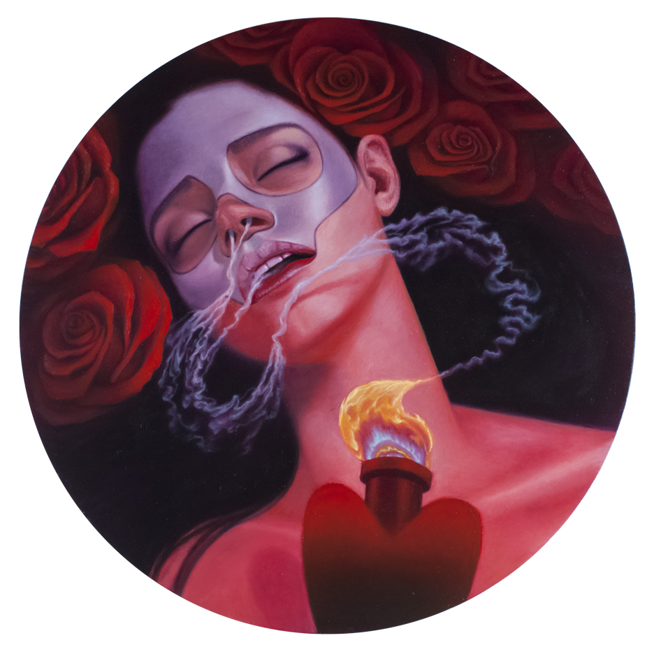 Fragrance of Eternal Love, Oil on Wood, 20x20 inches, 2018. Private Collection.