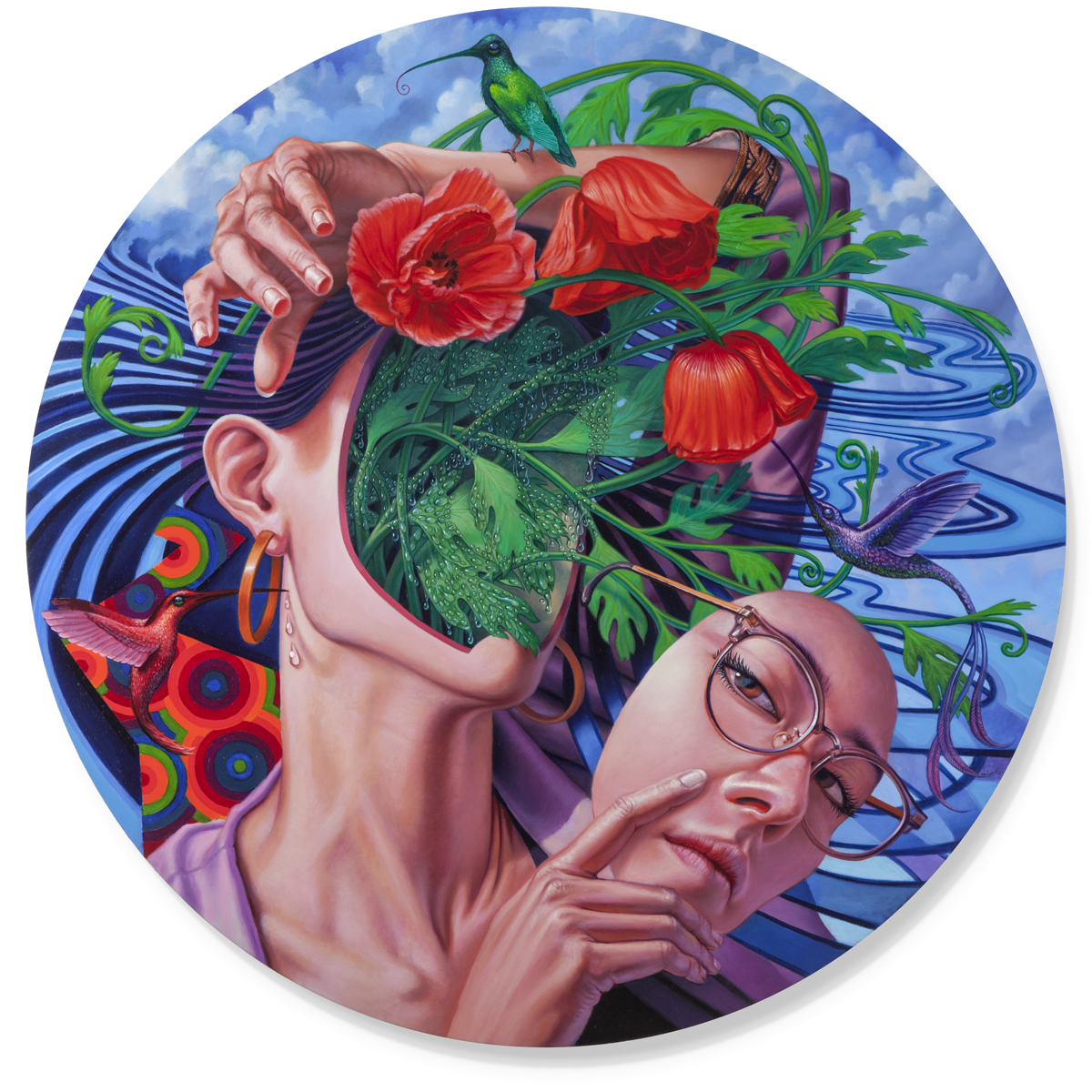 Persephone In Spring, Oil on Wood, 33x33 inches, 2019. Email AustinEddy@gmail.com for purchase enquiries.