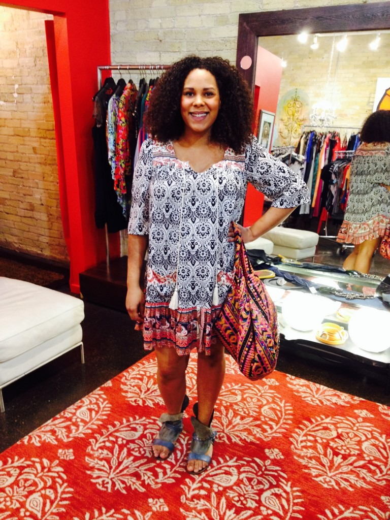 """THML Shift Dress : $72, sizes XS-L   Sequin Purse : $76   Free People """"Everything Went West"""" Sandals : $179"""