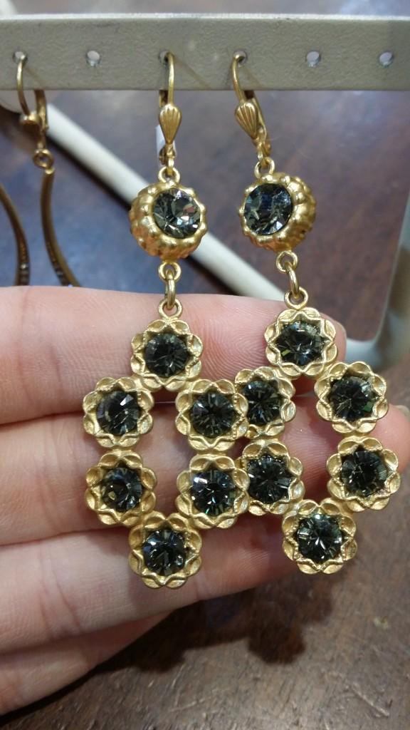 Taupe Stone Earrings: $76