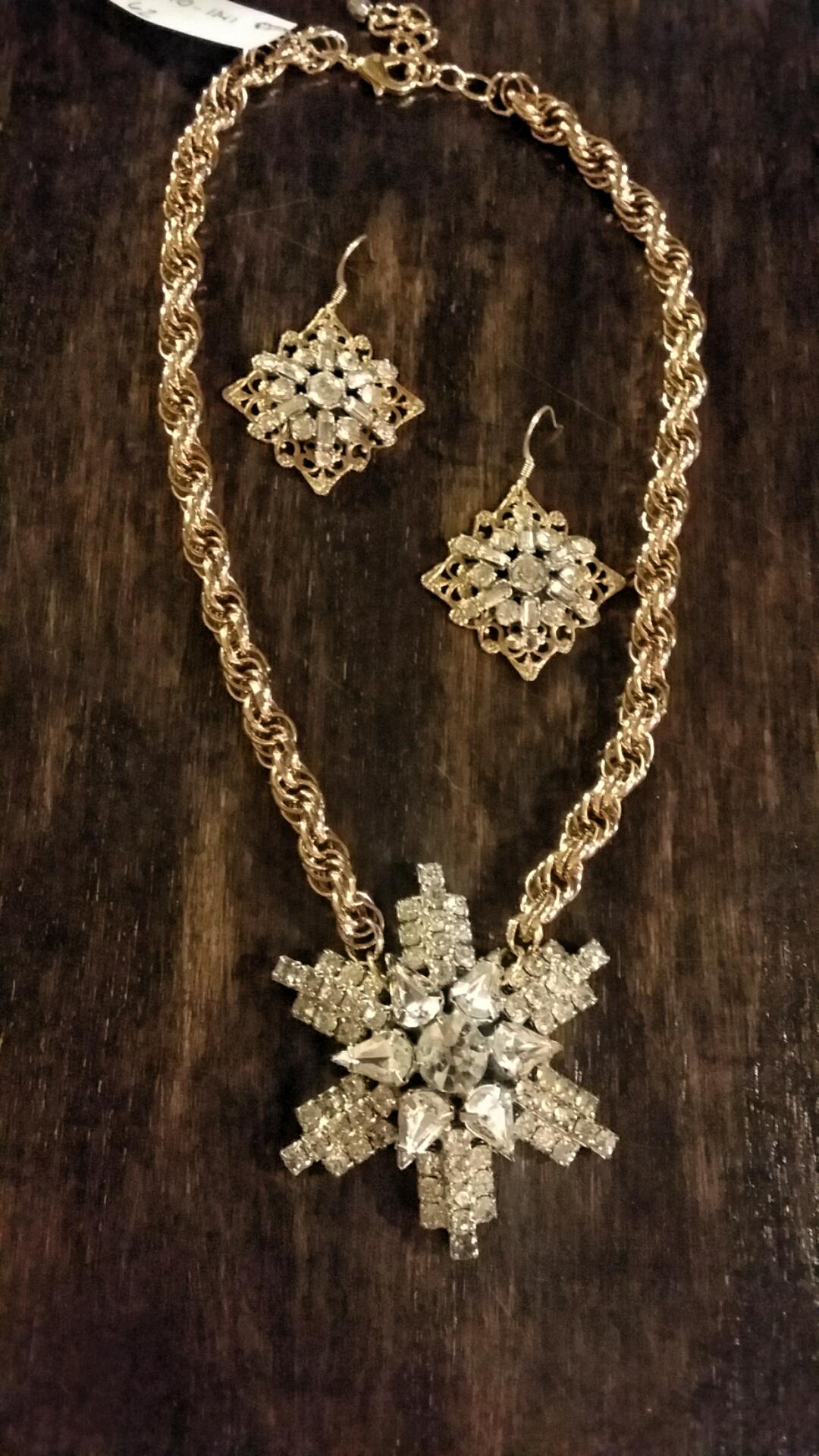 Earrings: $42. Necklace: $62