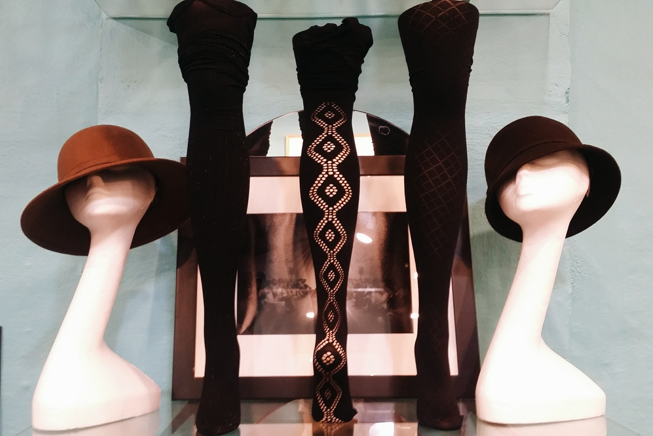 Hats: $54 (available in other colors and styles)  Memoi Hosiery: $16-24
