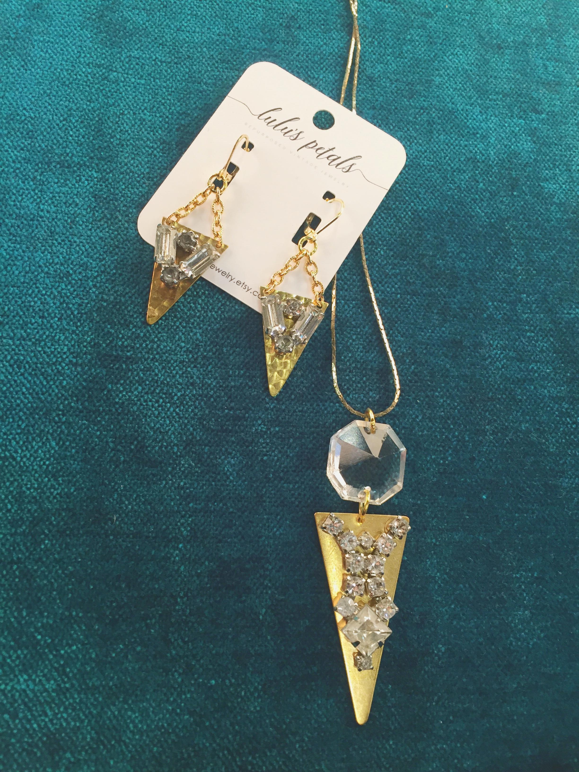 Necklace, $42; Earrings, $32