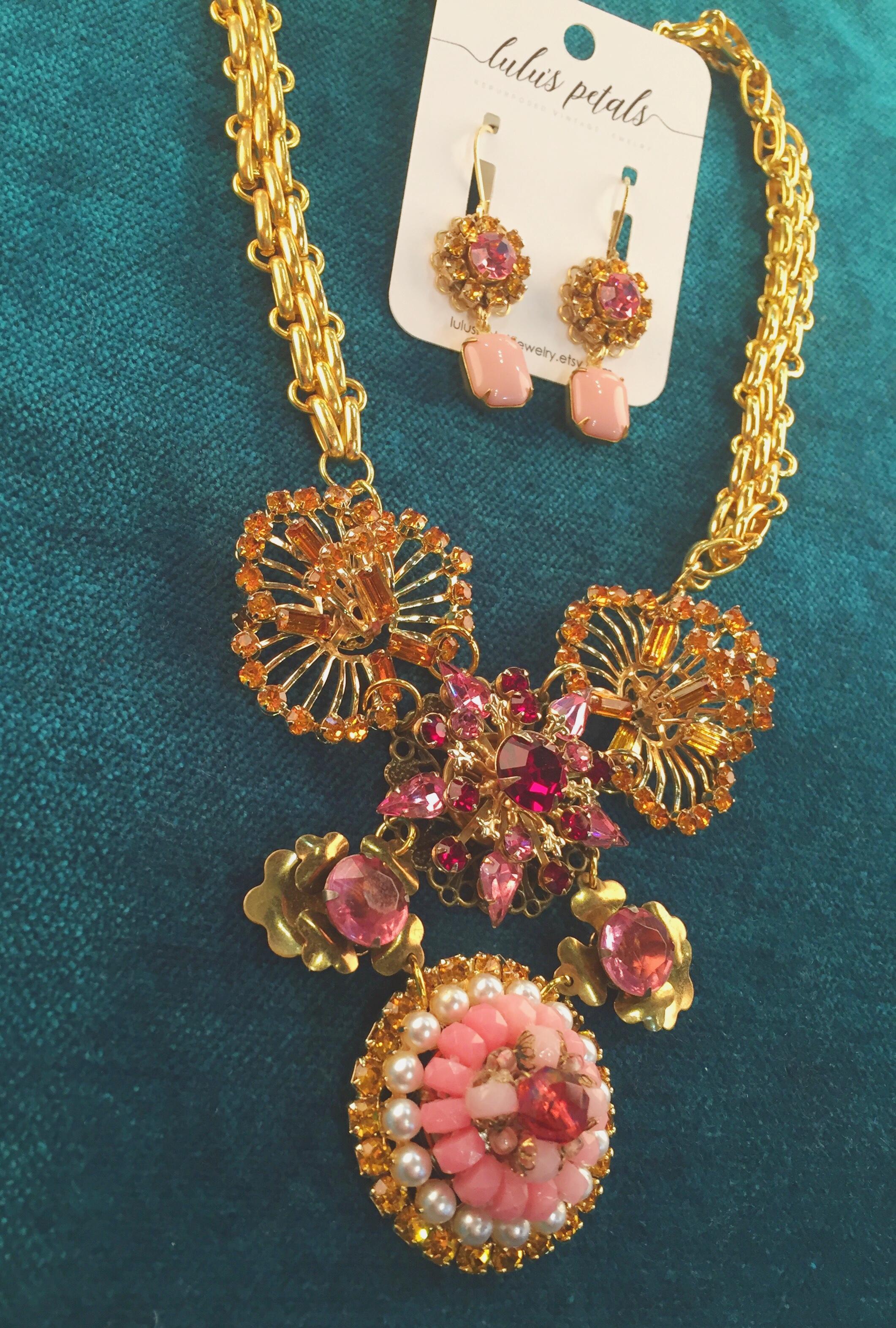 Necklace, $98; earrings, $34