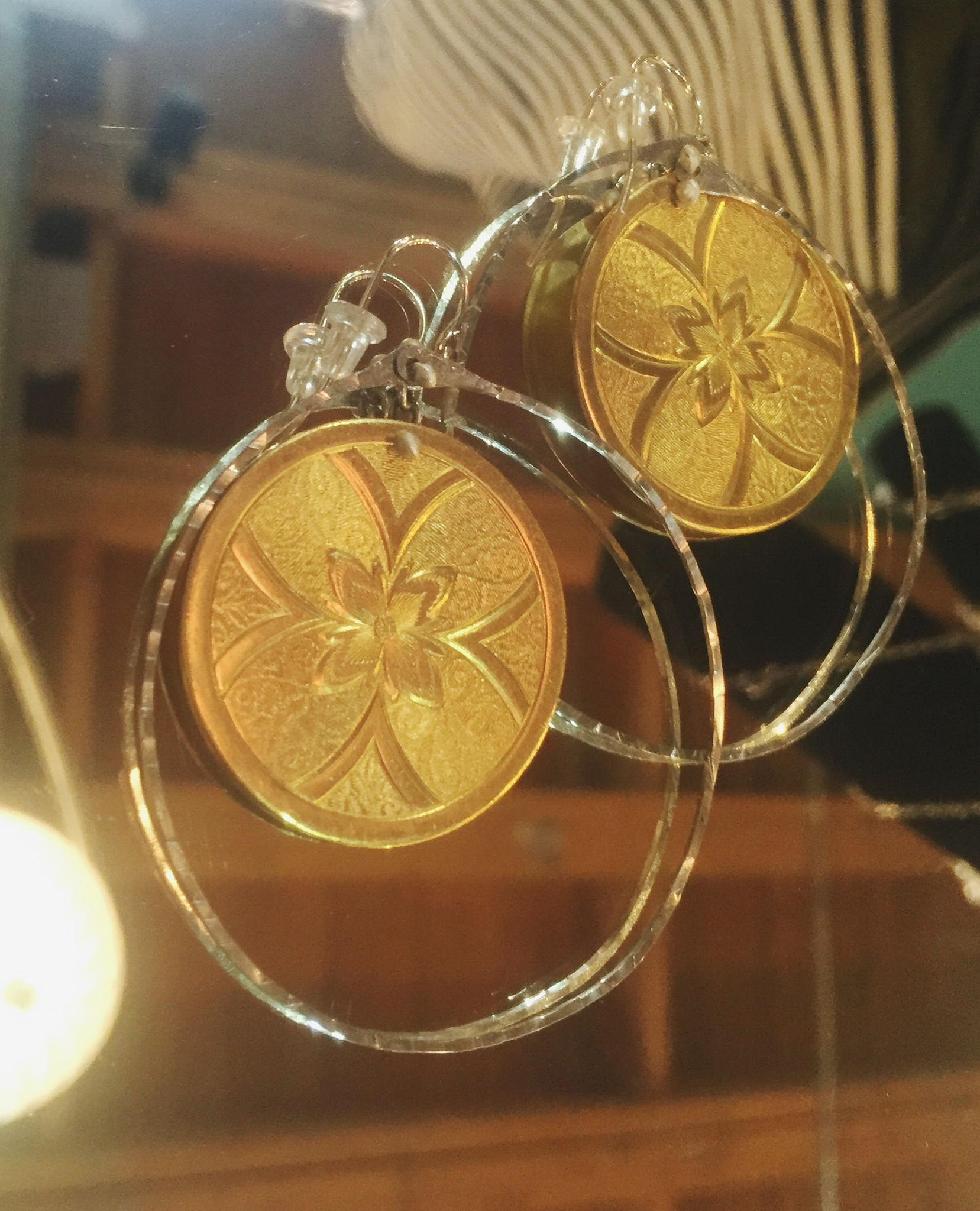 Gold and silver hoops, $48