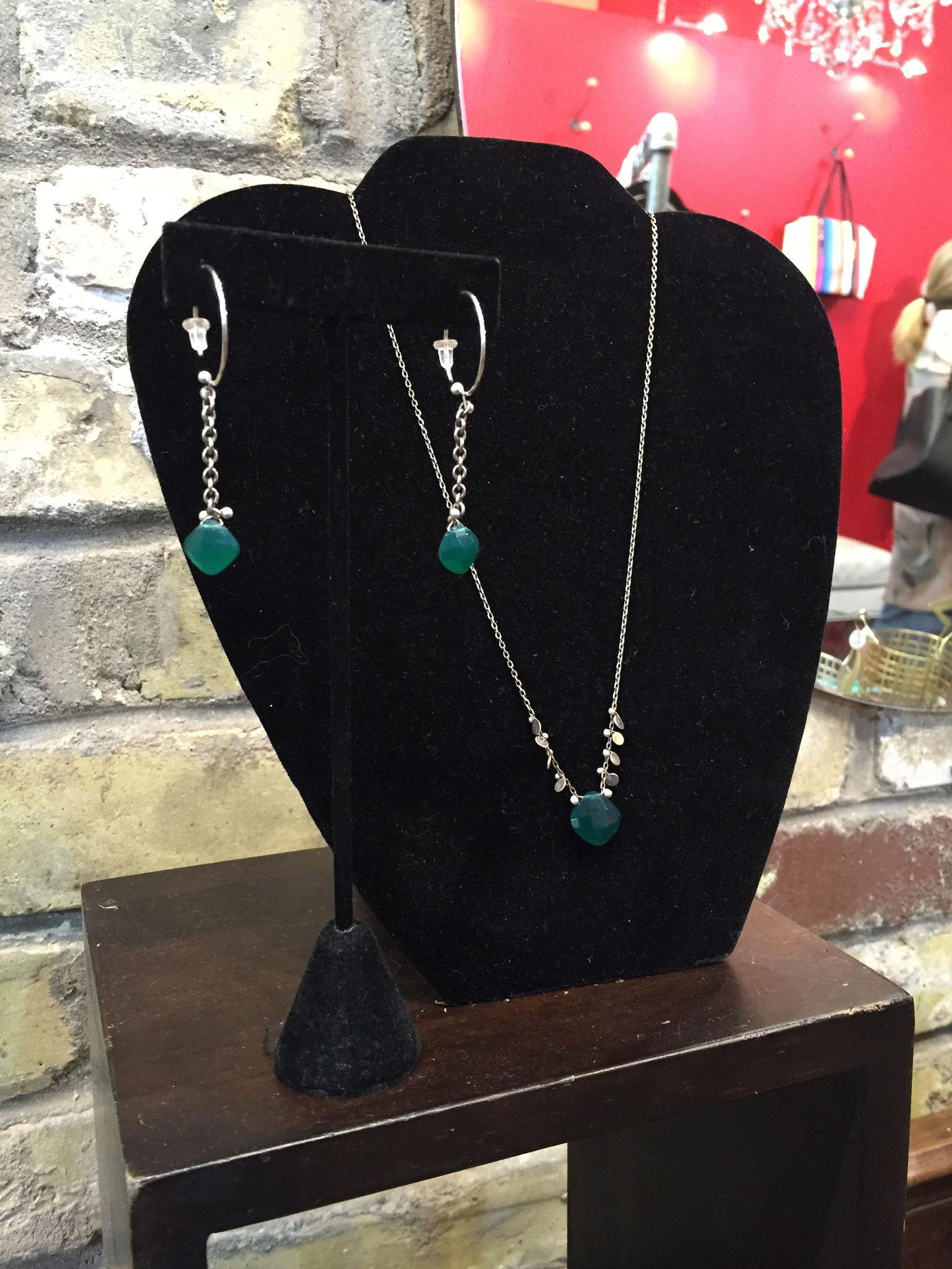Green onyx necklace, $72; earrings, $48