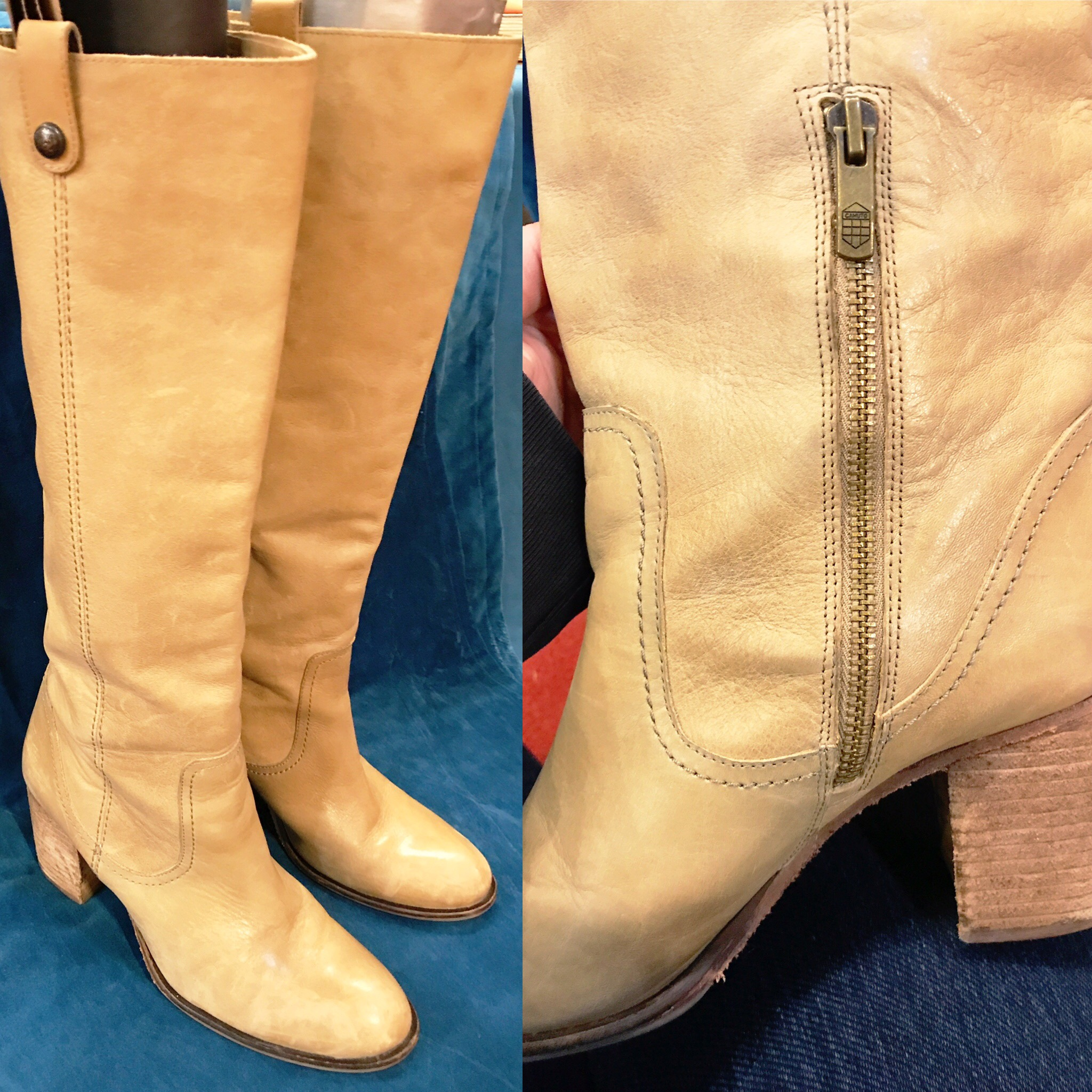 Vince Camuto block heel sand boots, $44, size 8