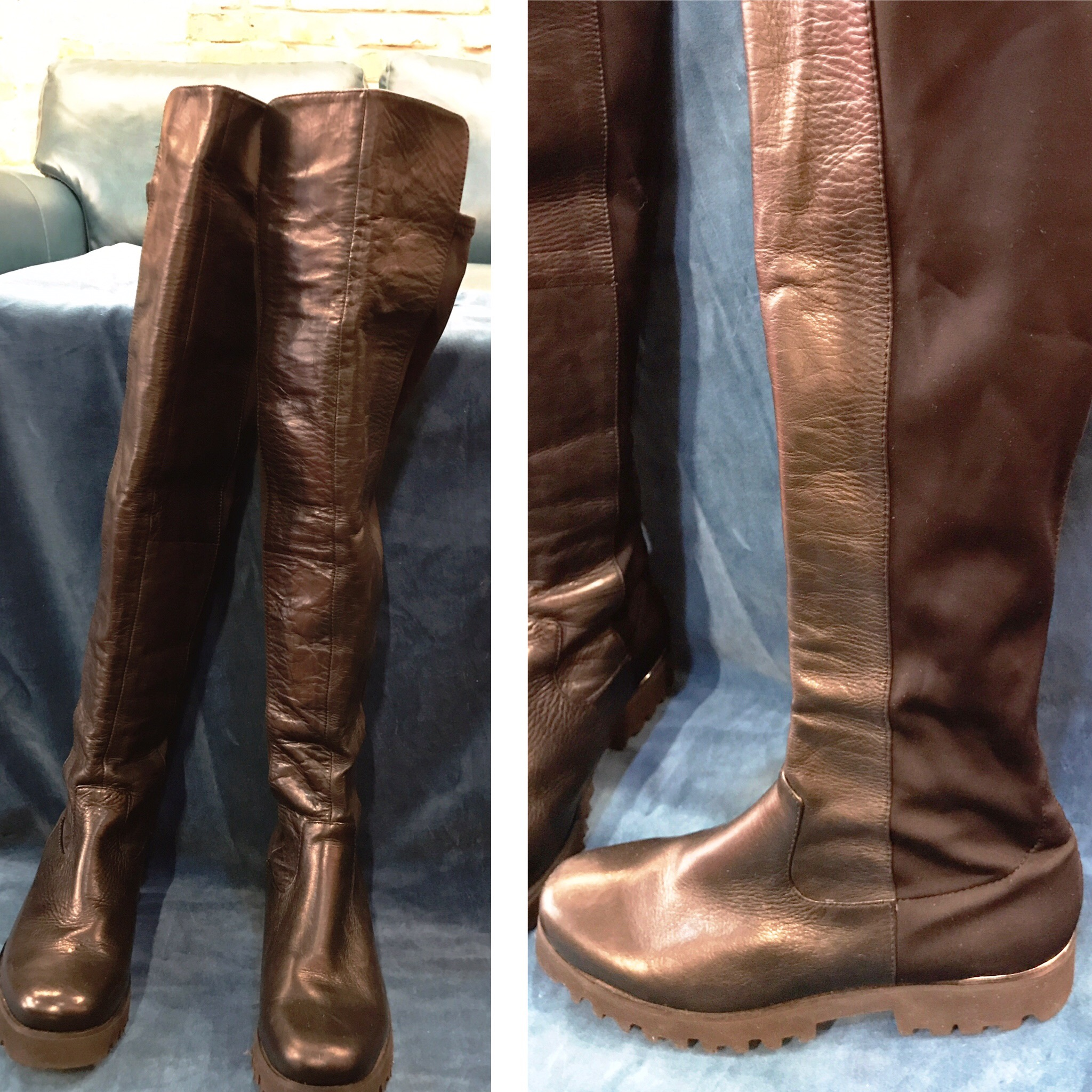 Black Pliner boots with stretchy calf, $46, size 6