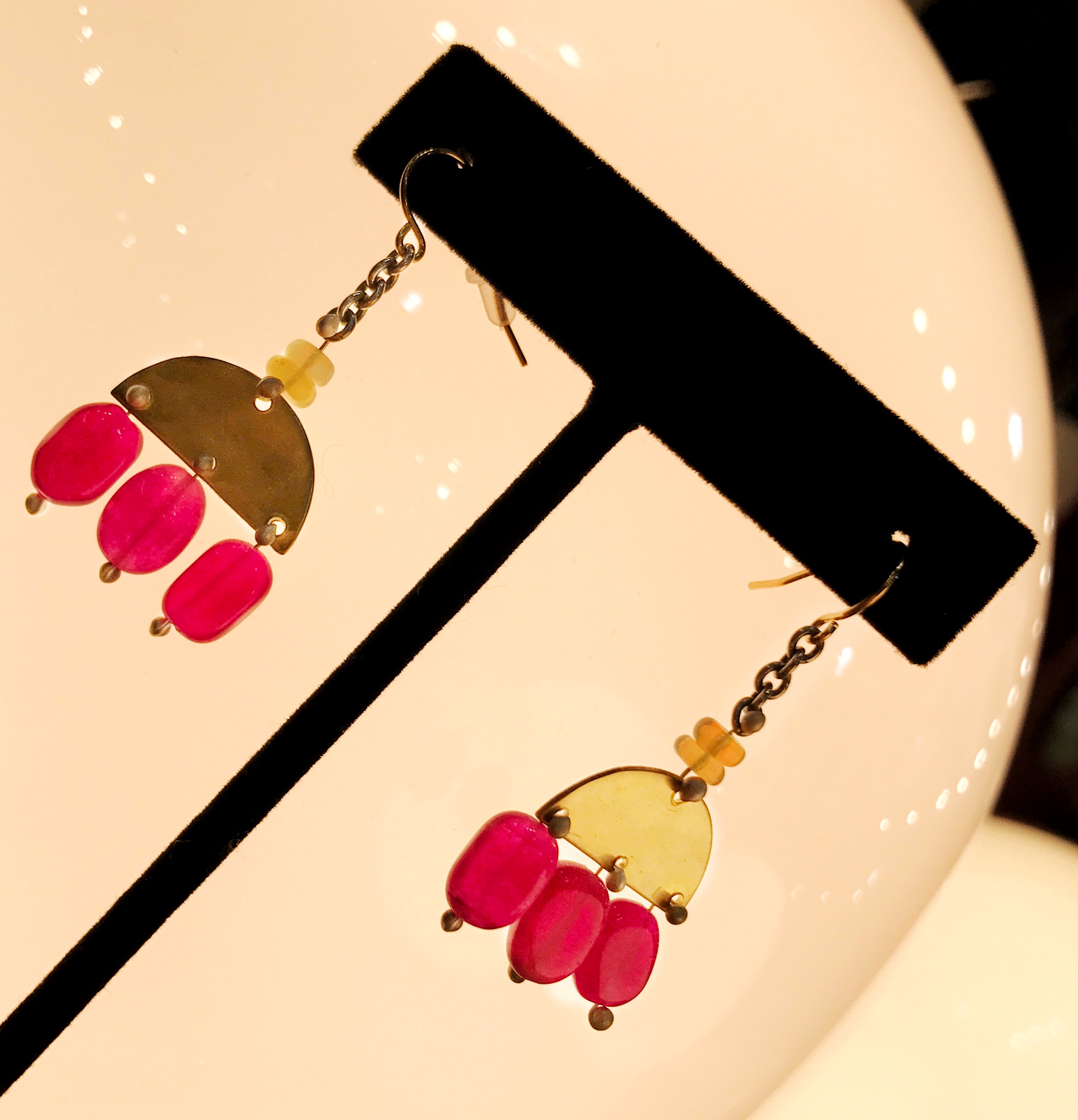 Gold and pink droplet earrings, $42 (regularly $56)