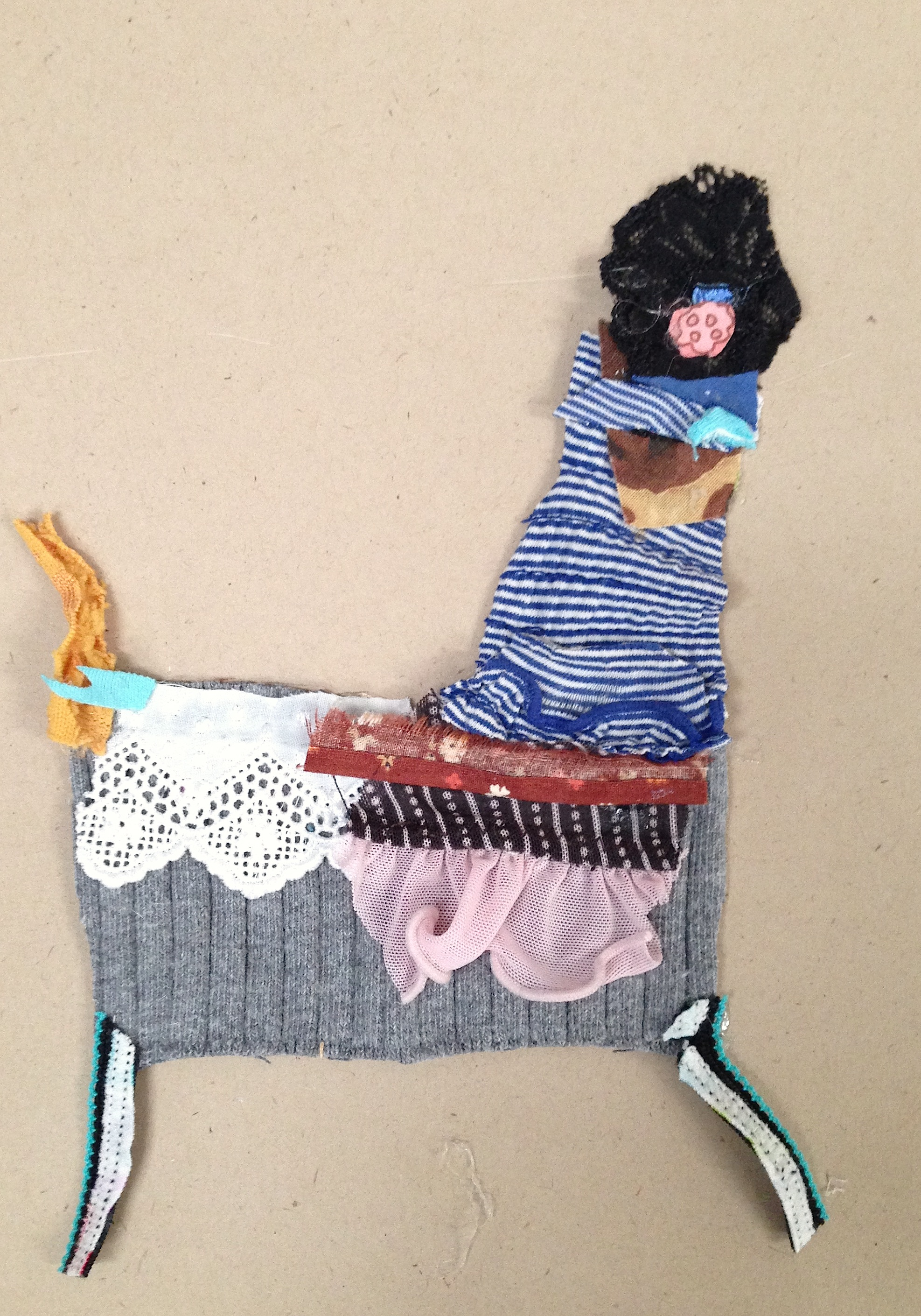 Lamb Headed Doe  20.5 x 20.5 inches  Recycled fabric:  2015