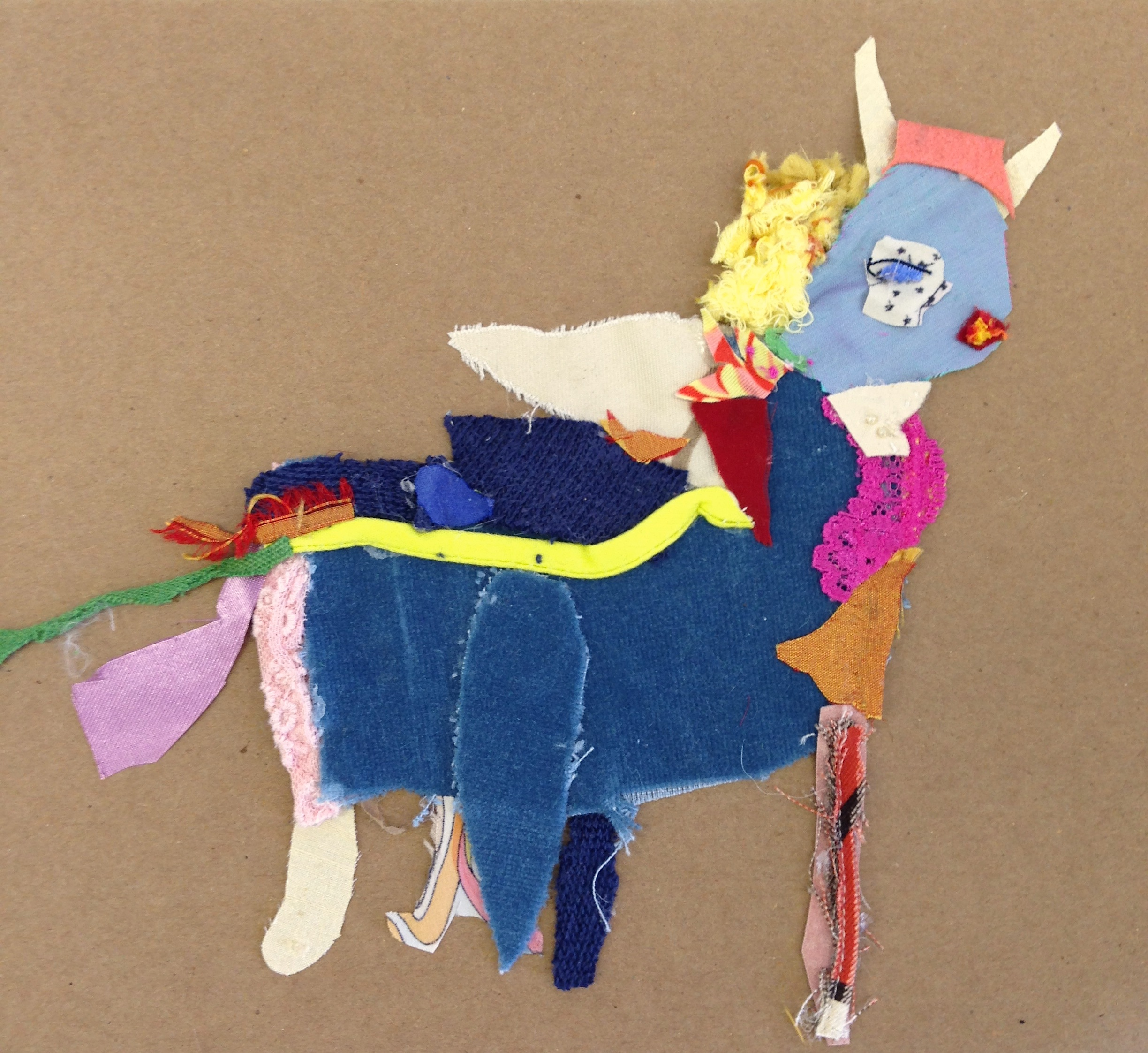 Pronghorn in Blue Velvet  20.5 x 20.5 inches  Recycled fabric:  2015