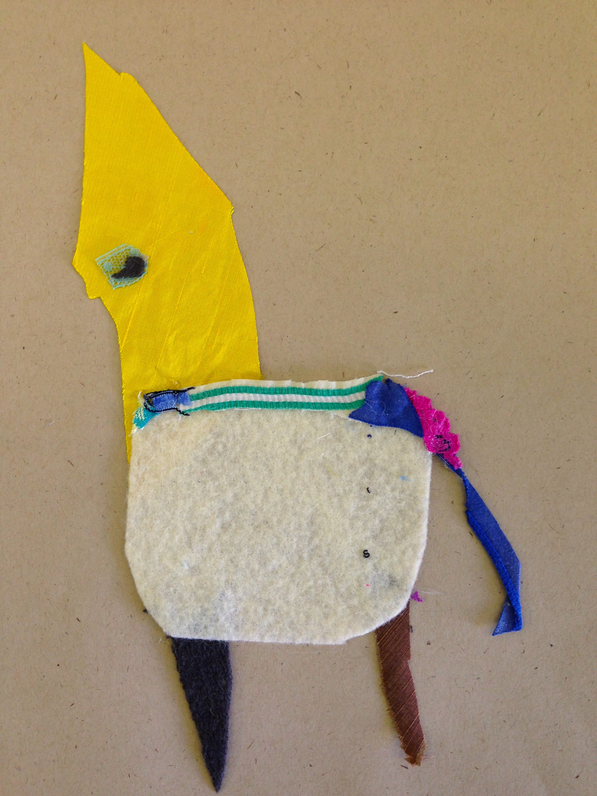 Jay headed Roo  20.5 x 20.5 inches  Recycled fabric:  2015