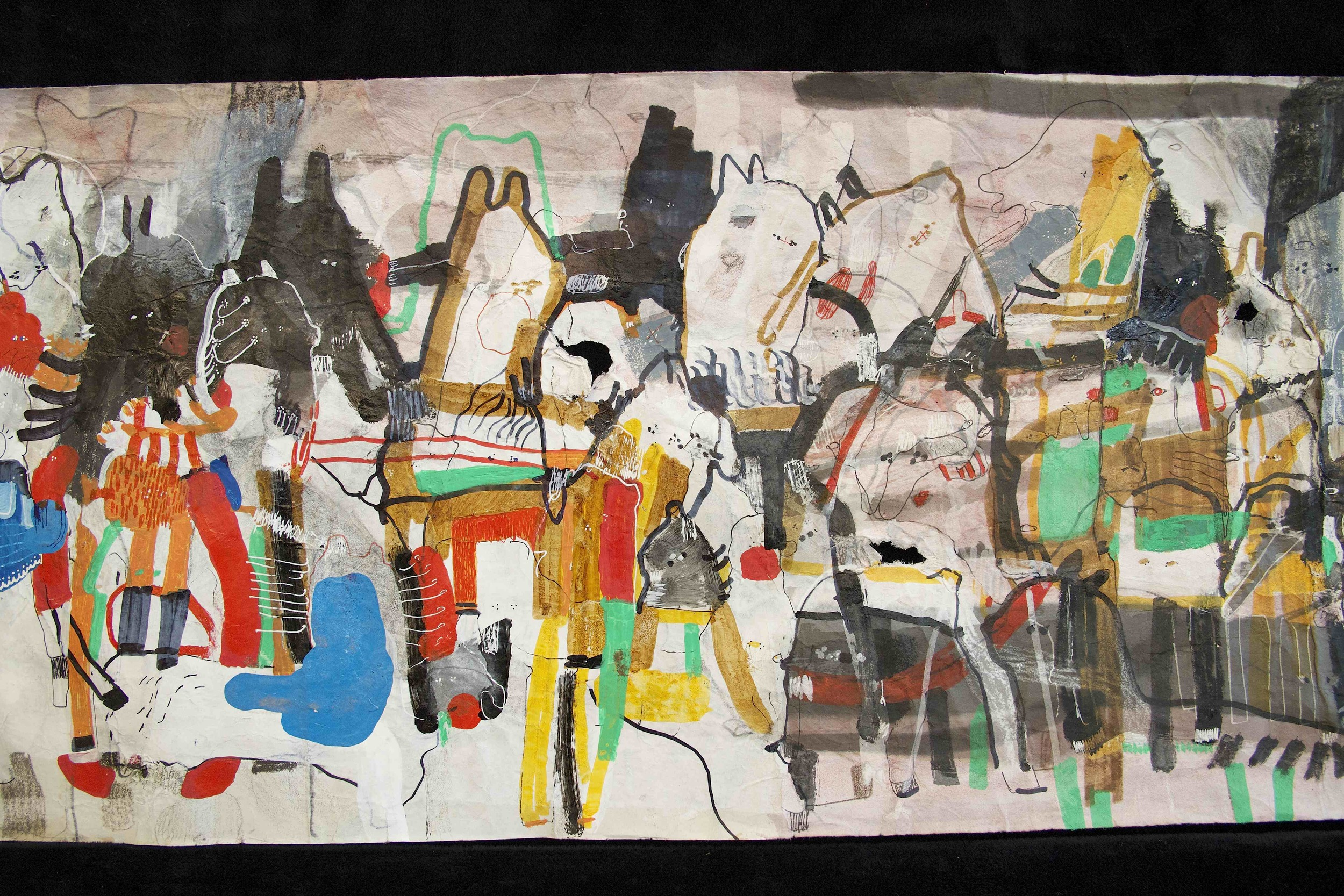 """[Detail no 5]  """"The Wind atop The Wood -Winds of Mount Meru Tangling Threads of Rainbow atop the Wood -Scroll 8""""   11 inches x 60 feet  ink, watercolor, gouache, dye, lost & found paper, crayon and graphite on mulberry paper scroll  2015"""