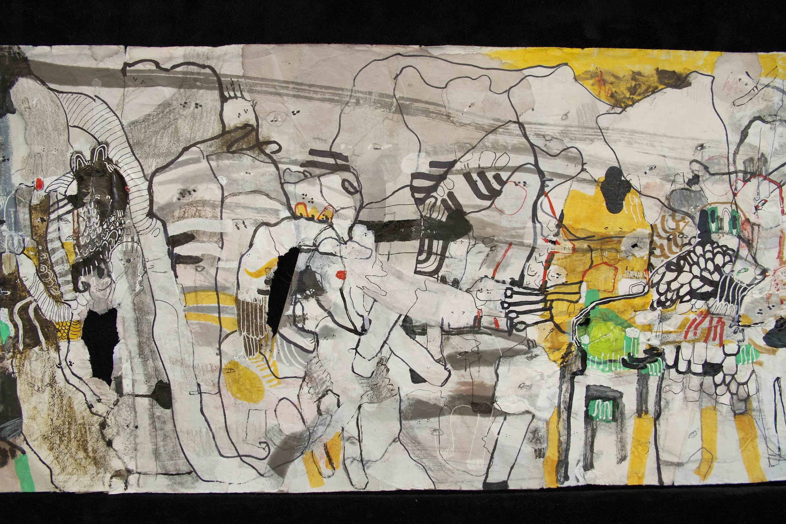 """[Detail no 6]  """"The Wind atop The Wood -Winds of Mount Meru Tangling Threads of Rainbow atop the Wood -Scroll 8""""   11 inches x 60 feet  ink, watercolor, gouache, dye, lost & found paper, crayon and graphite on mulberry paper scroll  2015"""