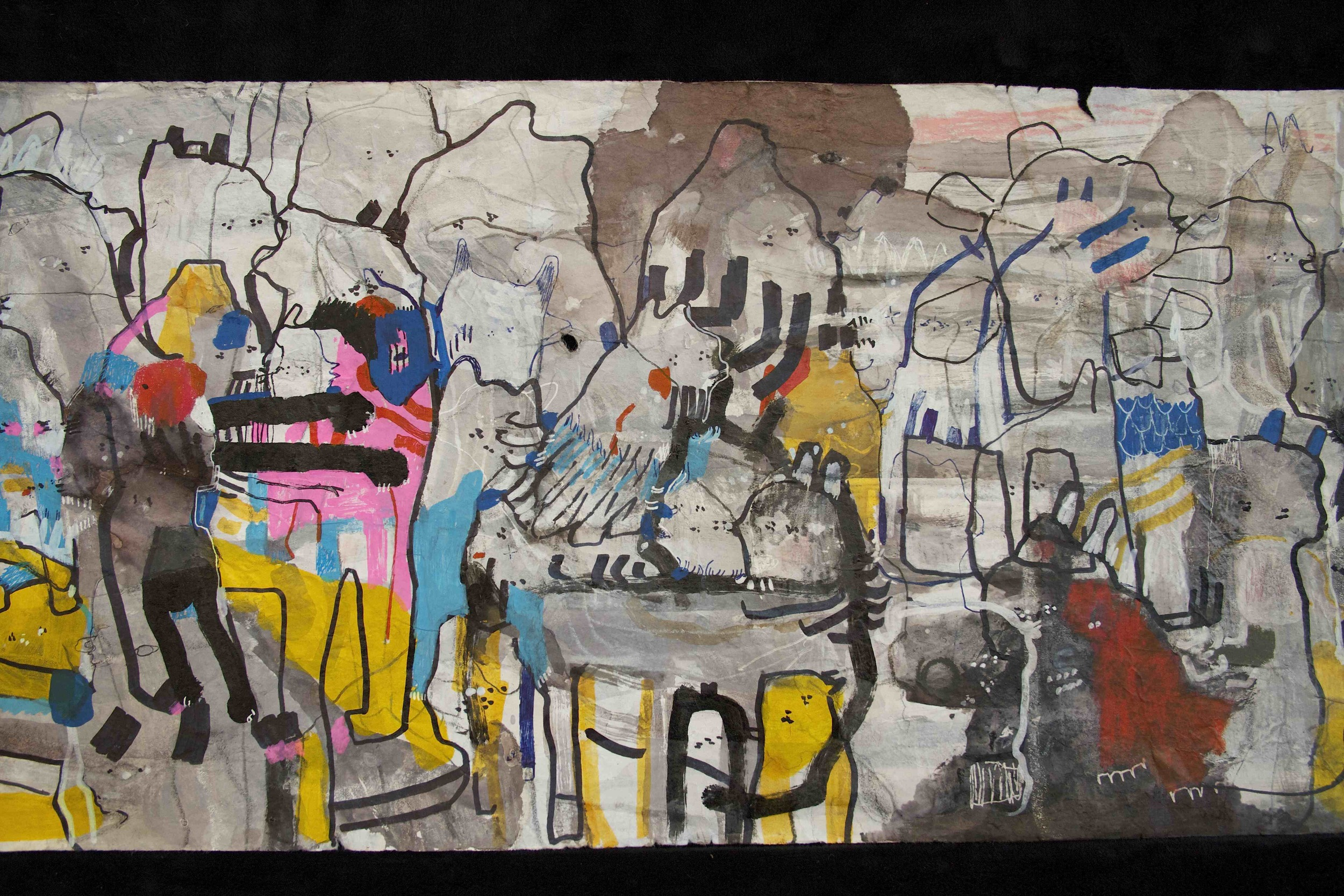 """[Detail no 7]  """"The Wind atop The Wood -Winds of Mount Meru Tangling Threads of Rainbow atop the Wood -Scroll 8""""   11 inches x 60 feet  ink, watercolor, gouache, dye, lost & found paper, crayon and graphite on mulberry paper scroll  2015"""