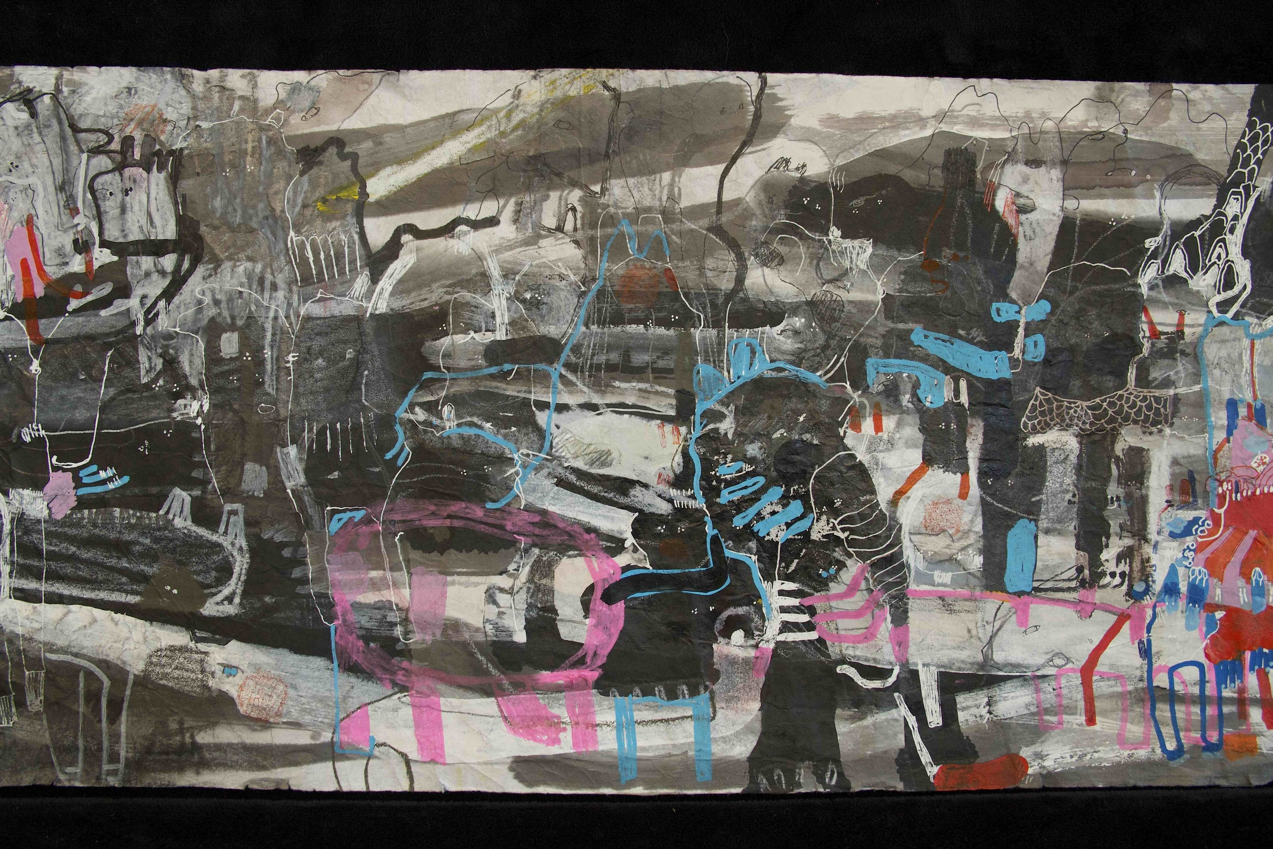 """[Detail no 9]  """"The Wind atop The Wood -Winds of Mount Meru Tangling Threads of Rainbow atop the Wood -Scroll 8""""   11 inches x 60 feet  ink, watercolor, gouache, dye, lost & found paper, crayon and graphite on mulberry paper scroll  2015"""