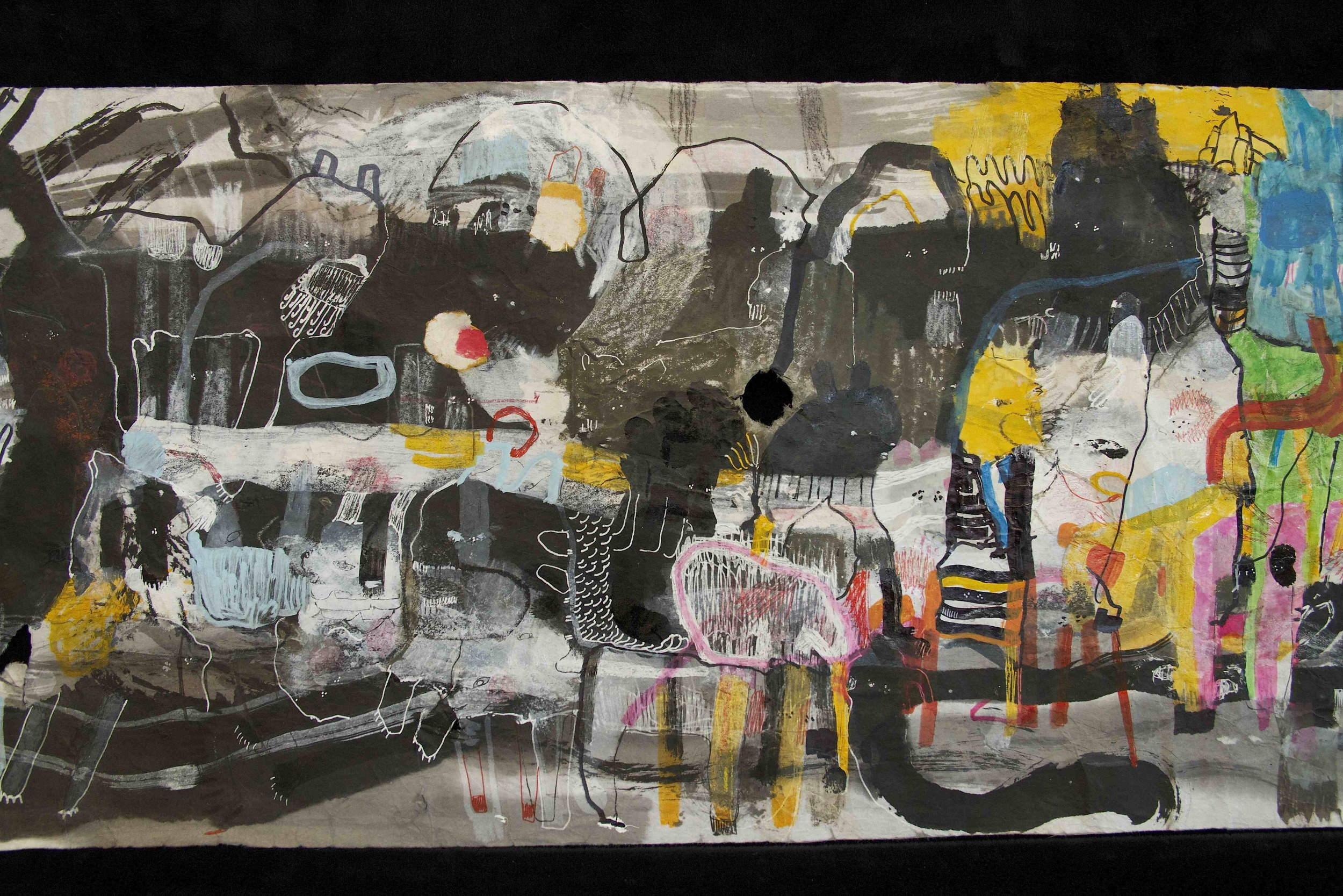 """[Detail no 13]  """"The Wind atop The Wood -Winds of Mount Meru Tangling Threads of Rainbow atop the Wood -Scroll 8""""   11 inches x 60 feet  ink, watercolor, gouache, dye, lost & found paper, crayon and graphite on mulberry paper scroll  2015"""