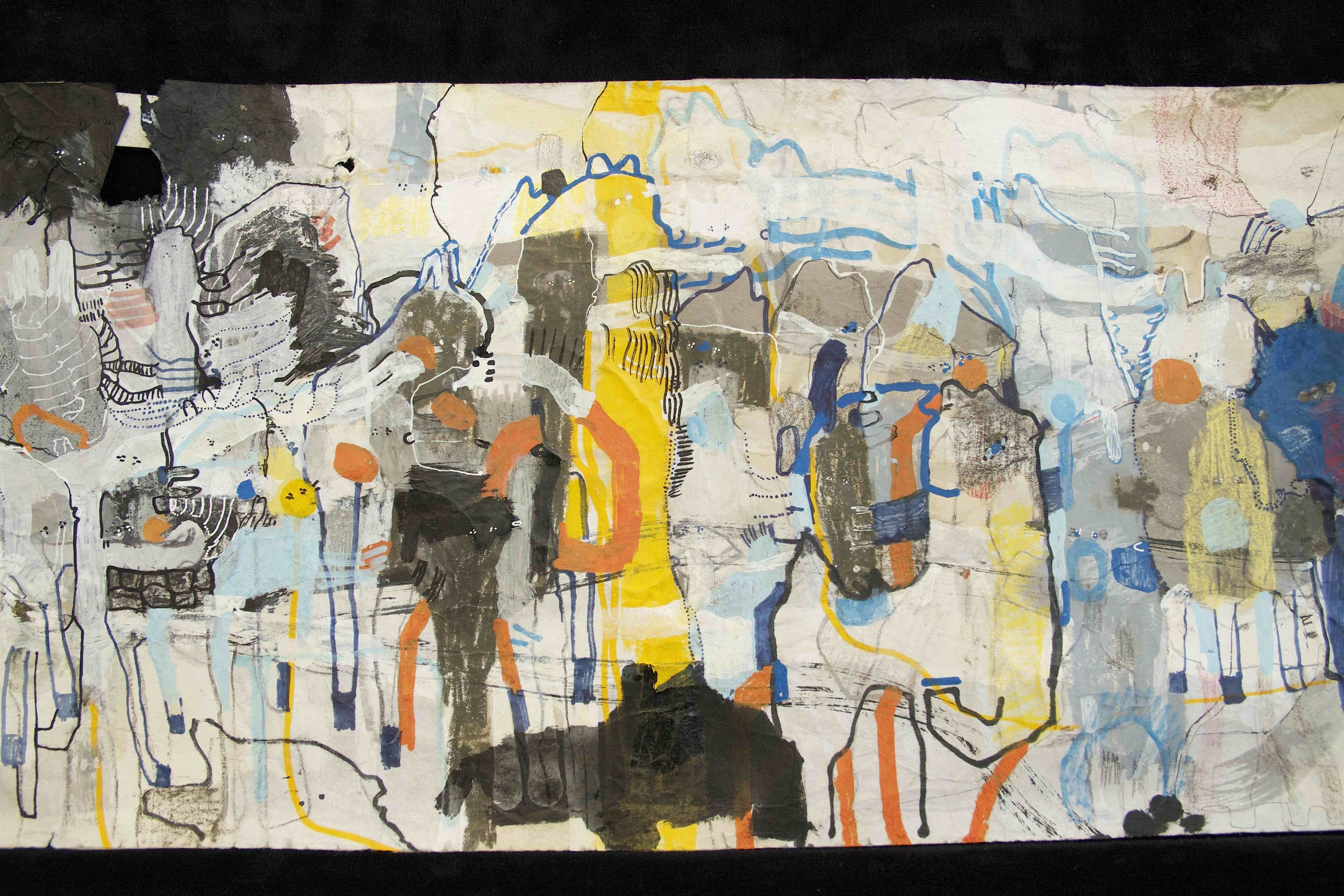 """[Detail no 18]  """"The Wind atop The Wood -Winds of Mount Meru Tangling Threads of Rainbow atop the Wood -Scroll 8""""   11 inches x 60 feet  ink, watercolor, gouache, dye, lost & found paper, crayon and graphite on mulberry paper scroll  2015"""