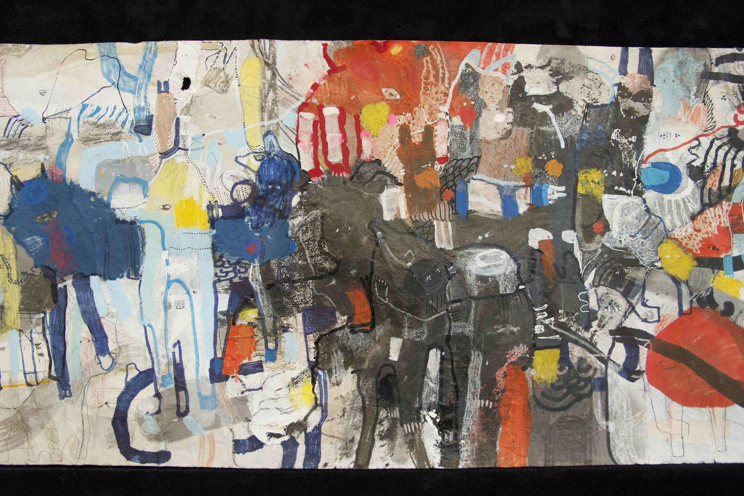 """[Detail no 19]  """"The Wind atop The Wood -Winds of Mount Meru Tangling Threads of Rainbow atop the Wood -Scroll 8""""   11 inches x 60 feet  ink, watercolor, gouache, dye, lost & found paper, crayon and graphite on mulberry paper scroll  2015"""