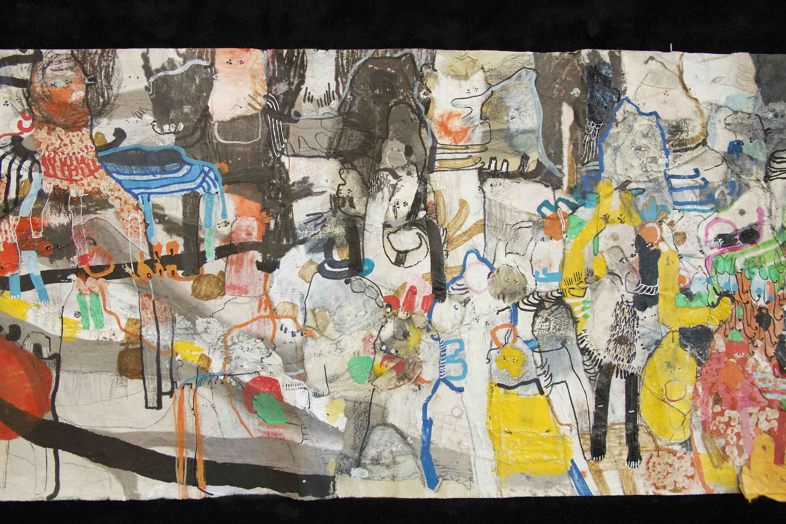 """[Detail no 20]  """"The Wind atop The Wood -Winds of Mount Meru Tangling Threads of Rainbow atop the Wood -Scroll 8""""   11 inches x 60 feet  ink, watercolor, gouache, dye, lost & found paper, crayon and graphite on mulberry paper scroll  2015"""