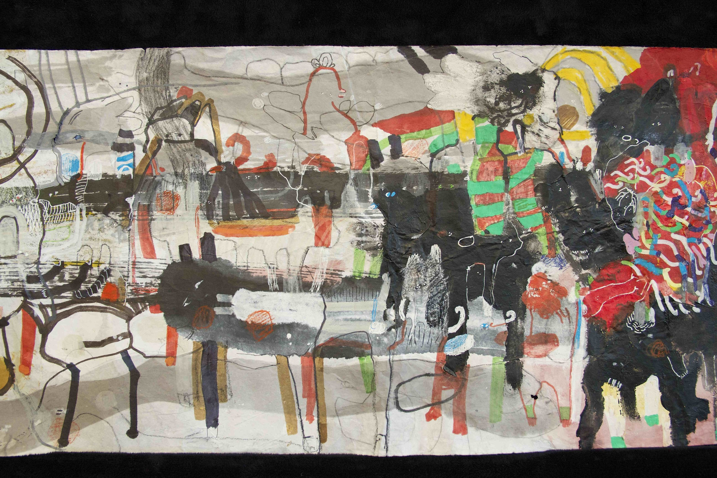 """[Detail no 24]  """"The Wind atop The Wood -Winds of Mount Meru Tangling Threads of Rainbow atop the Wood -Scroll 8""""   11 inches x 60 feet  ink, watercolor, gouache, dye, lost & found paper, crayon and graphite on mulberry paper scroll  2015"""