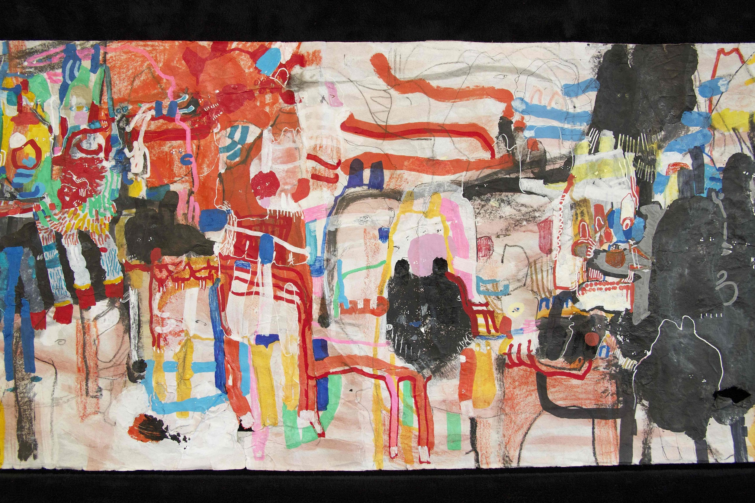"""[Detail no 27]  """"The Wind atop The Wood -Winds of Mount Meru Tangling Threads of Rainbow atop the Wood -Scroll 8""""   11 inches x 60 feet  ink, watercolor, gouache, dye, lost & found paper, crayon and graphite on mulberry paper scroll  2015"""