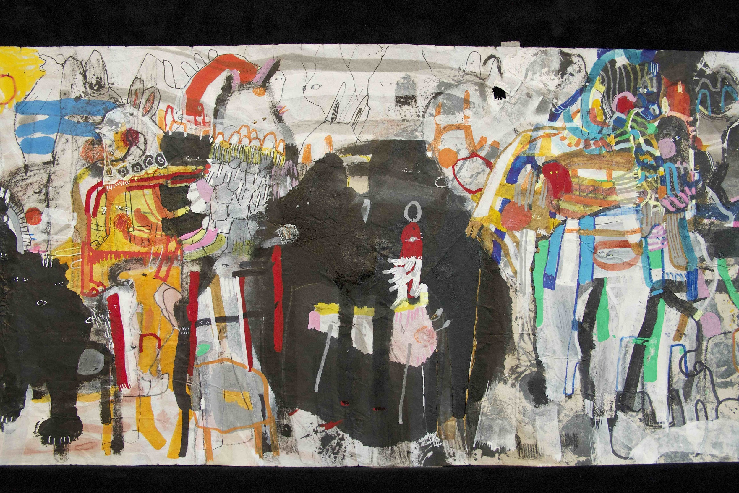 """[Detail no 28]  """"The Wind atop The Wood -Winds of Mount Meru Tangling Threads of Rainbow atop the Wood -Scroll 8""""   11 inches x 60 feet  ink, watercolor, gouache, dye, lost & found paper, crayon and graphite on mulberry paper scroll  2015"""