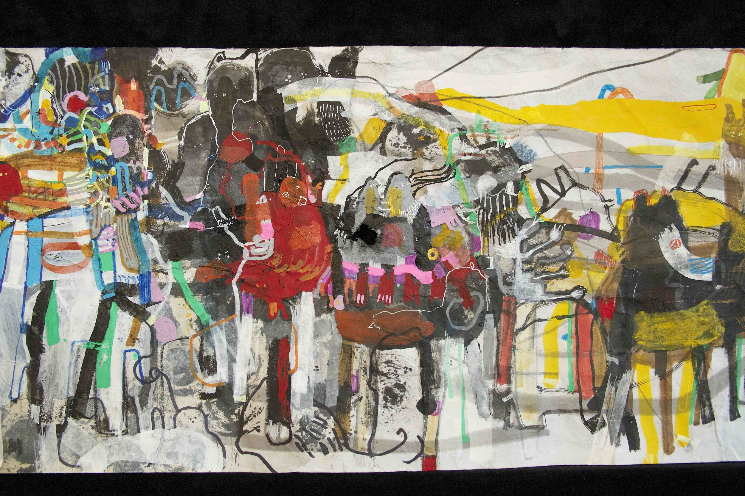 """[Detail no 29]  """"The Wind atop The Wood -Winds of Mount Meru Tangling Threads of Rainbow atop the Wood -Scroll 8""""   11 inches x 60 feet  ink, watercolor, gouache, dye, lost & found paper, crayon and graphite on mulberry paper scroll  2015"""