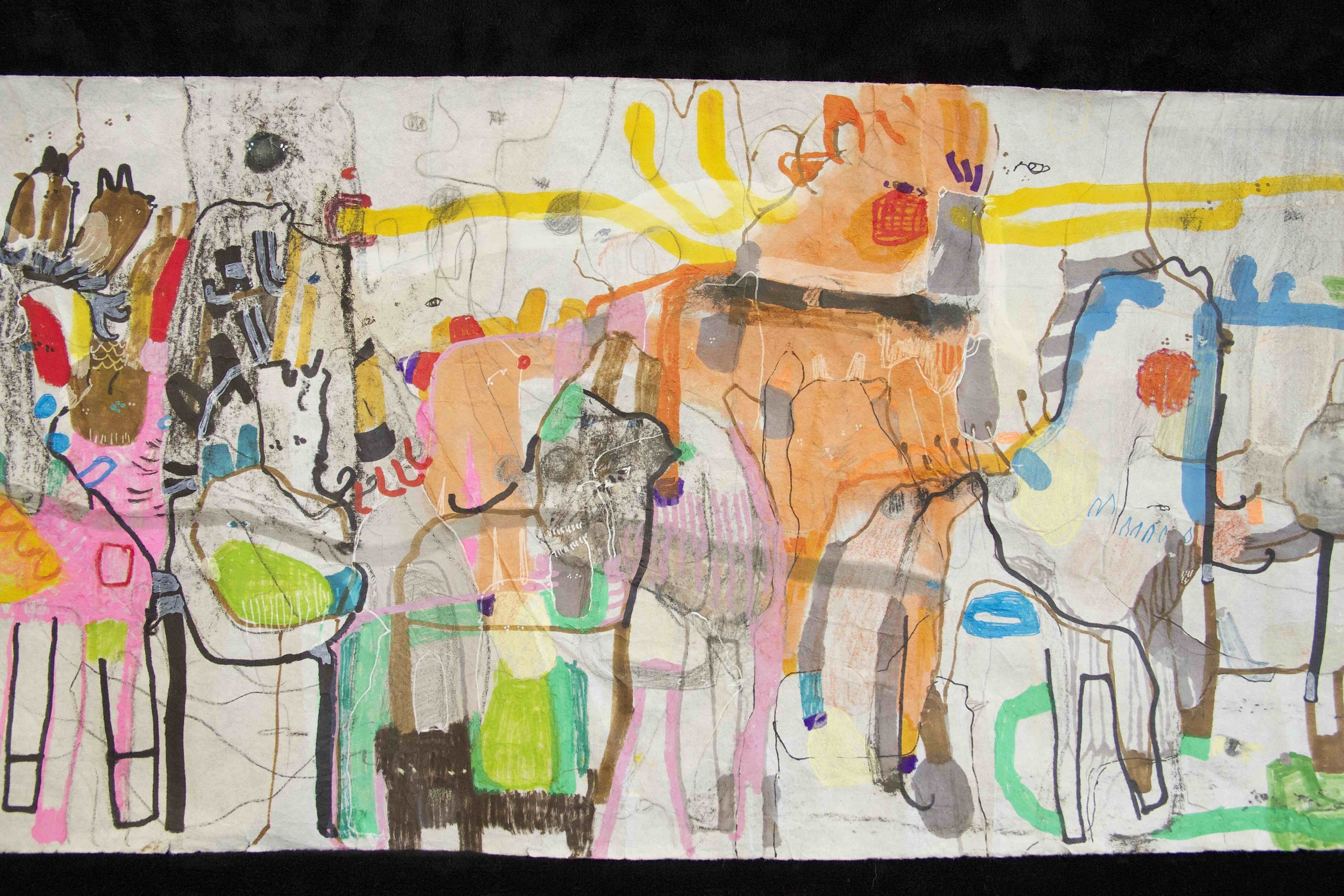 """[Detail no 32]  """"The Wind atop The Wood -Winds of Mount Meru Tangling Threads of Rainbow atop the Wood -Scroll 8""""   11 inches x 60 feet  ink, watercolor, gouache, dye, lost & found paper, crayon and graphite on mulberry paper scroll  2015"""
