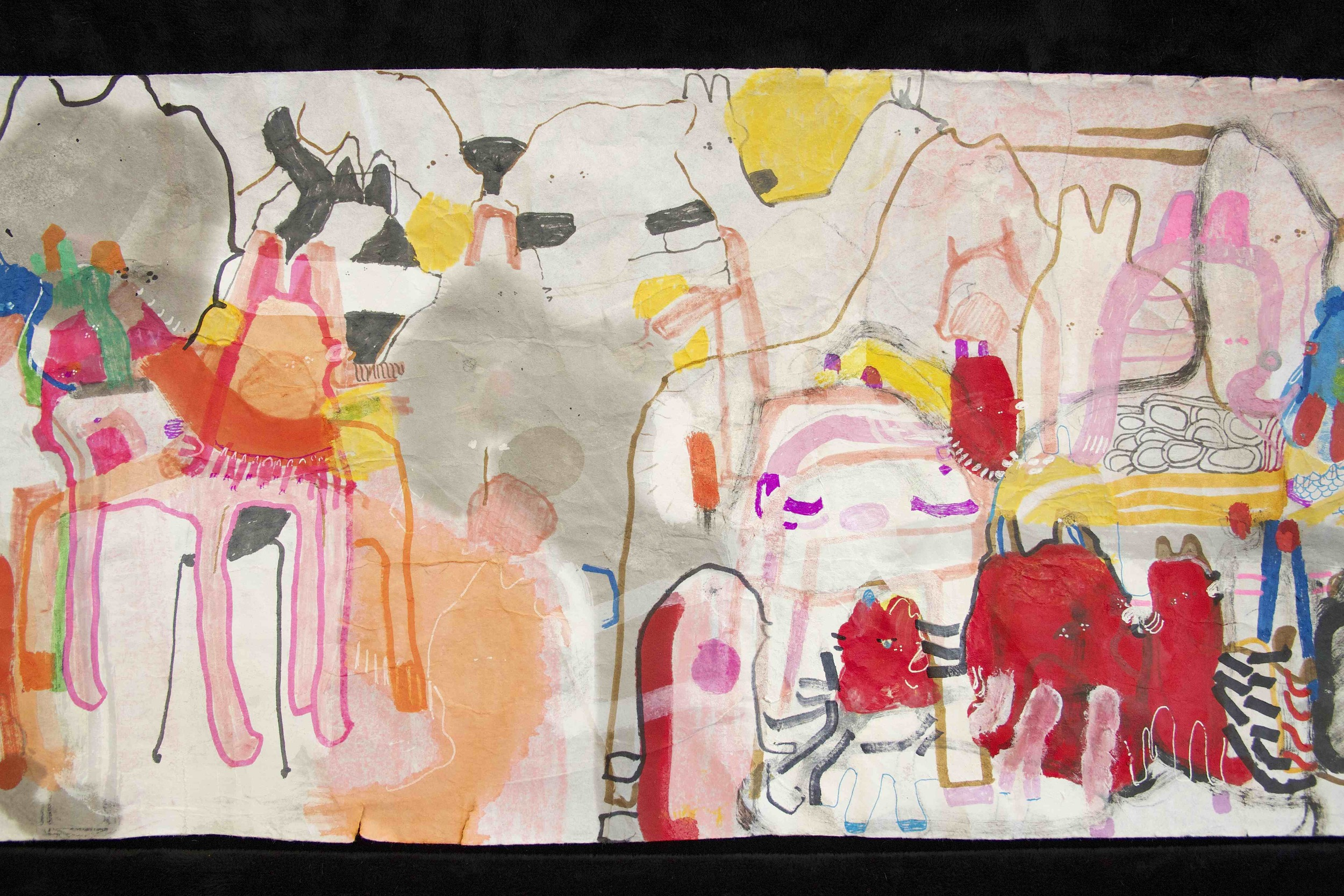 """[Detail no 34]  """"The Wind atop The Wood -Winds of Mount Meru Tangling Threads of Rainbow atop the Wood -Scroll 8""""   11 inches x 60 feet  ink, watercolor, gouache, dye, lost & found paper, crayon and graphite on mulberry paper scroll  2015"""