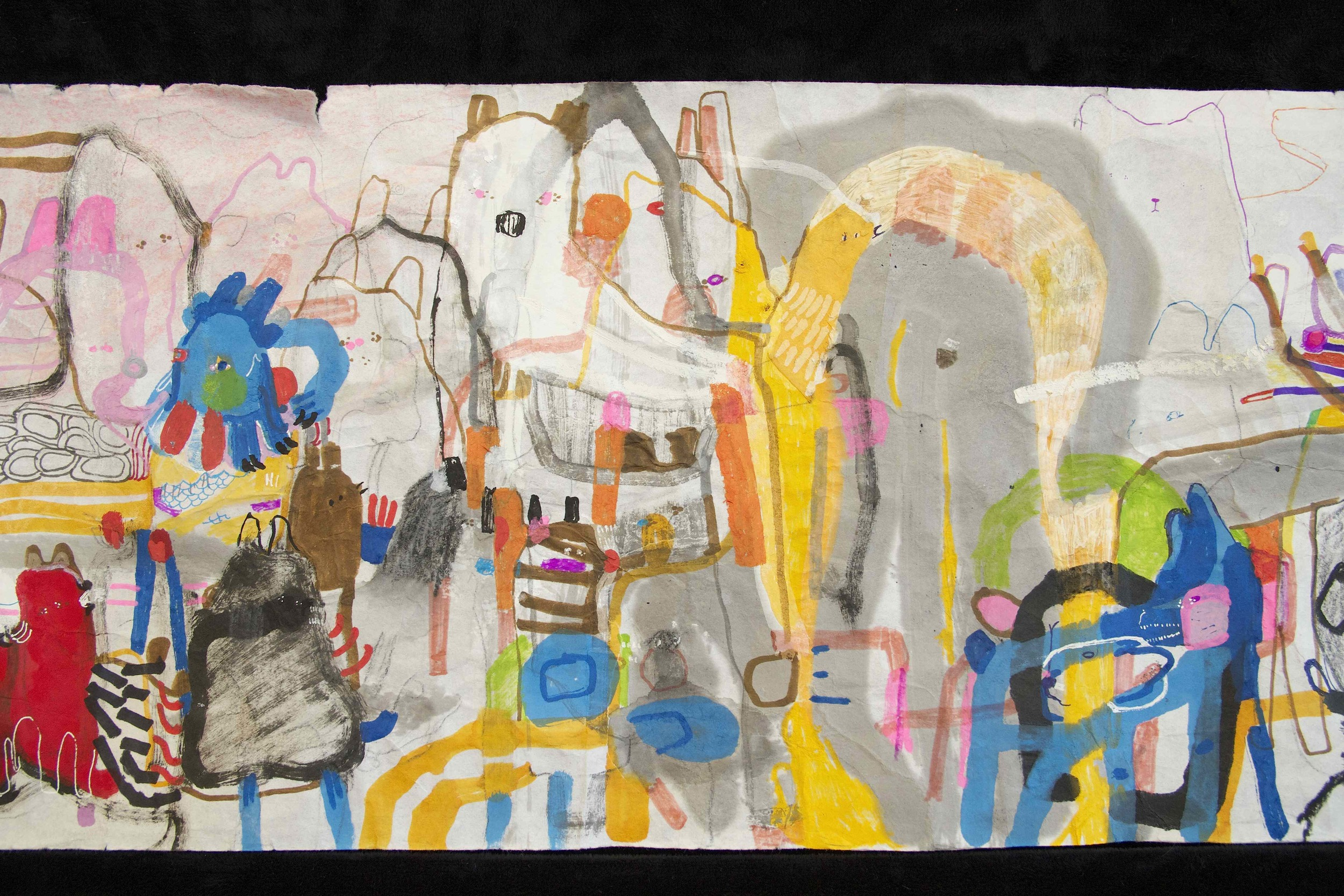 """[Detail no 35]  """"The Wind atop The Wood -Winds of Mount Meru Tangling Threads of Rainbow atop the Wood -Scroll 8""""   11 inches x 60 feet  ink, watercolor, gouache, dye, lost & found paper, crayon and graphite on mulberry paper scroll  2015"""