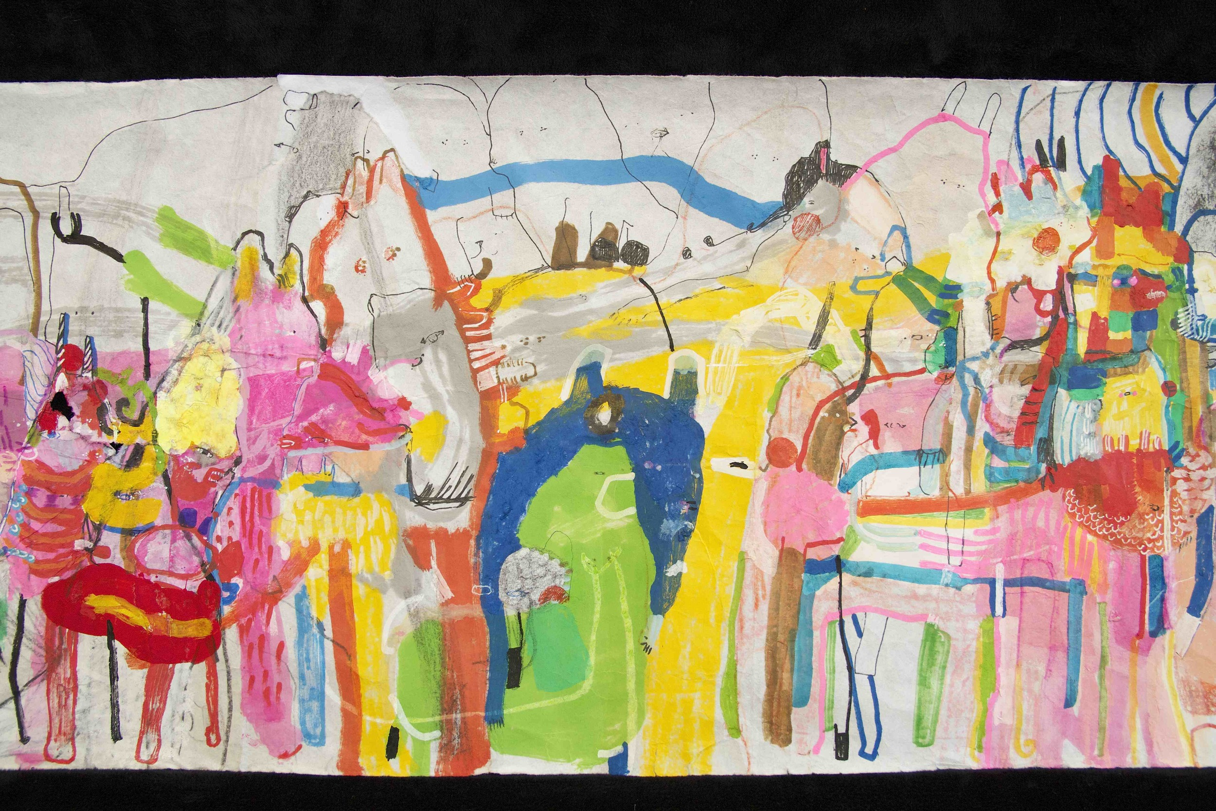 """[Detail no 37]  """"The Wind atop The Wood -Winds of Mount Meru Tangling Threads of Rainbow atop the Wood -Scroll 8""""   11 inches x 60 feet  ink, watercolor, gouache, dye, lost & found paper, crayon and graphite on mulberry paper scroll  2015"""