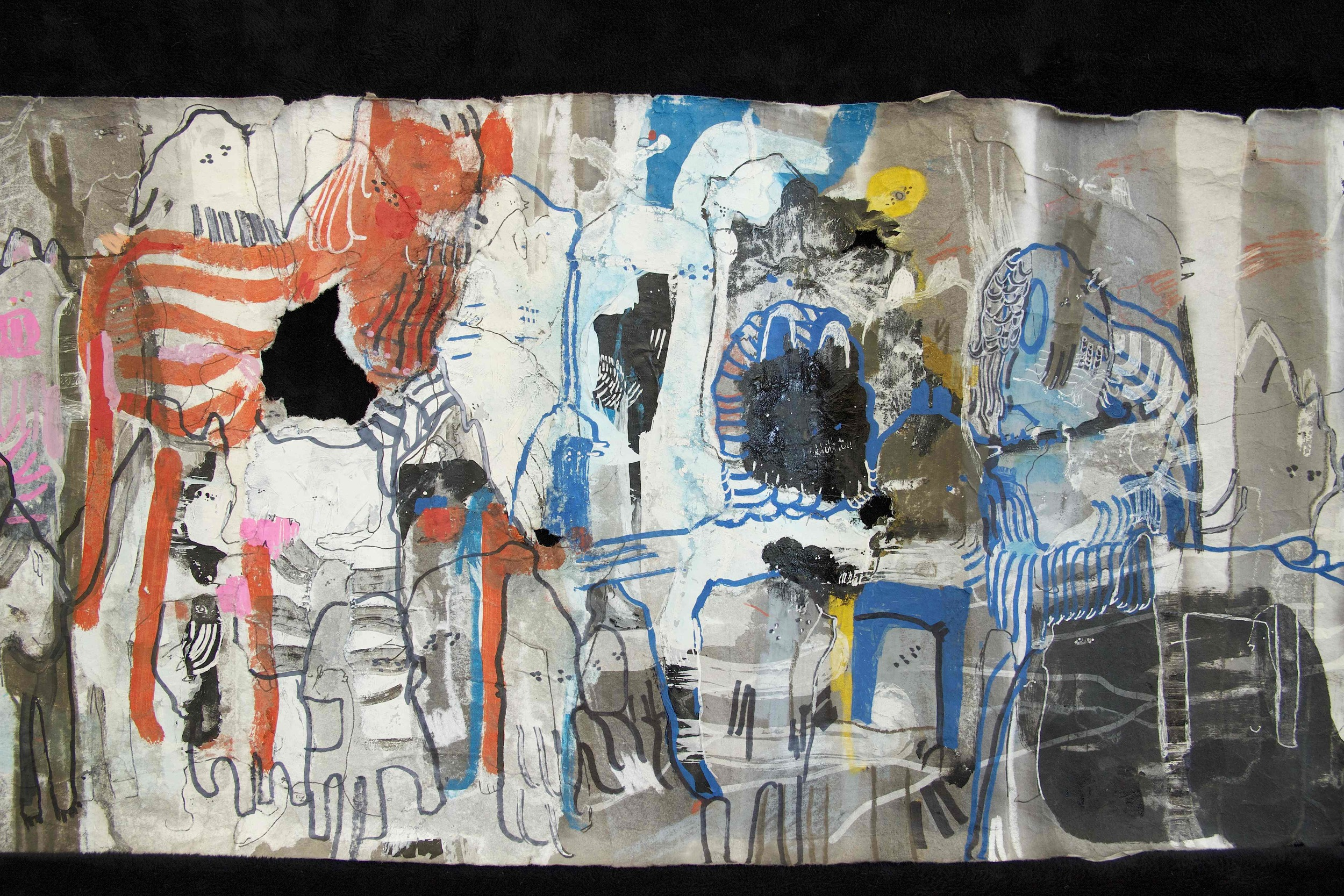 """[Detail no 40]  """"The Wind atop The Wood -Winds of Mount Meru Tangling Threads of Rainbow atop the Wood -Scroll 8""""   11 inches x 60 feet  ink, watercolor, gouache, dye, lost & found paper, crayon and graphite on mulberry paper scroll  2015"""