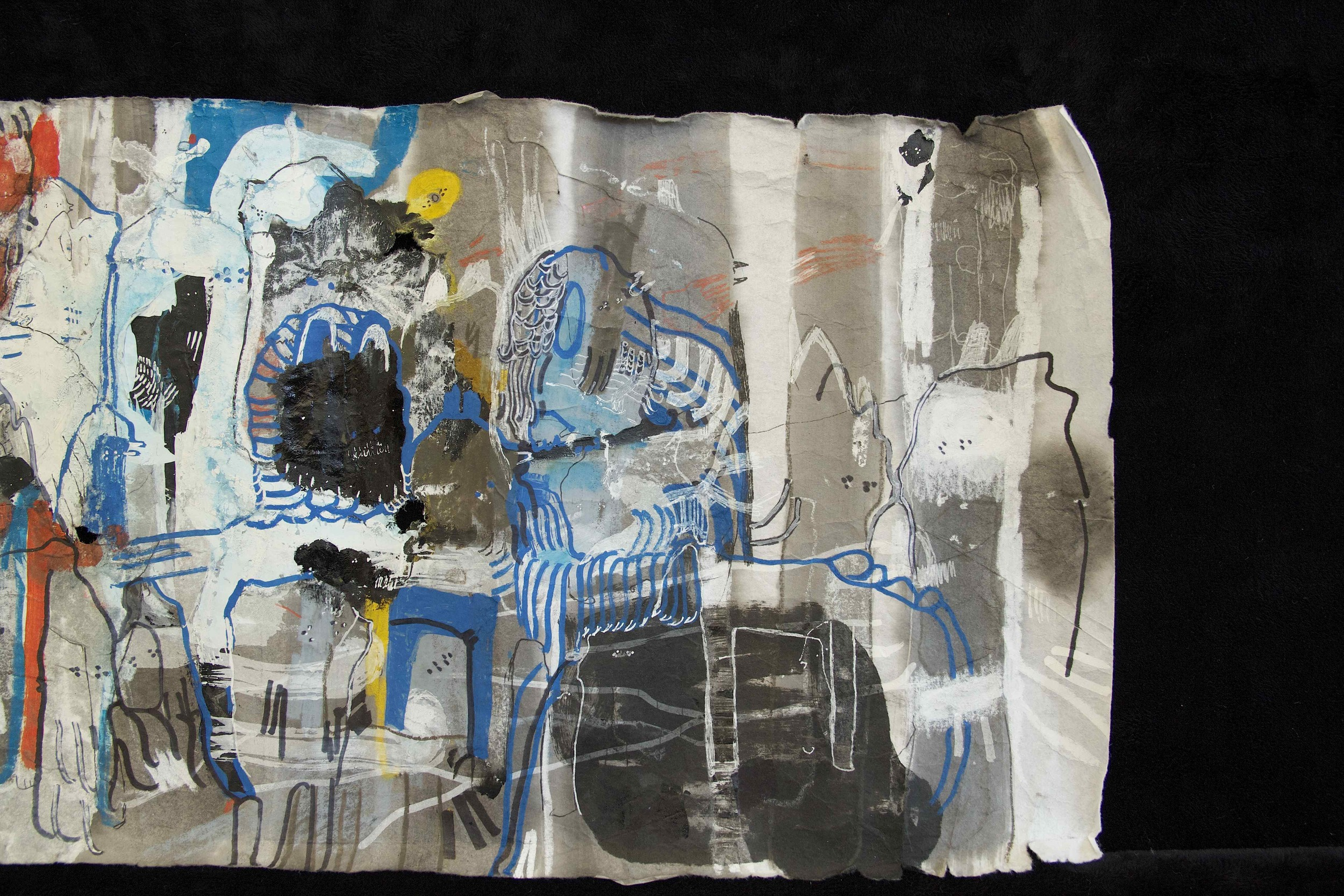"""[Detail no 41]  """"The Wind atop The Wood -Winds of Mount Meru Tangling Threads of Rainbow atop the Wood -Scroll 8""""   11 inches x 60 feet  ink, watercolor, gouache, dye, lost & found paper, crayon and graphite on mulberry paper scroll  2015"""