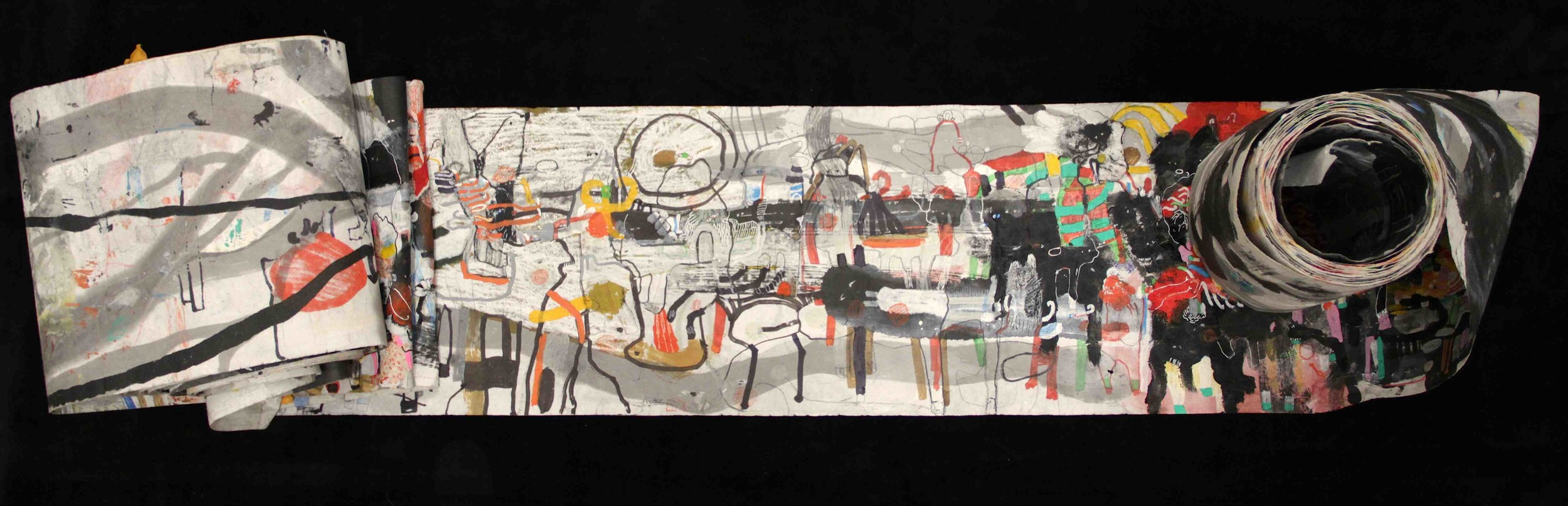"""""""The Wind atop The Wood -Winds of Mount Meru Tangling Threads of Rainbow atop the Wood -Scroll 8""""   11 inches x 60 feet  ink, watercolor, gouache, dye, lost & found paper, crayon and graphite on mulberry paper scroll  2015"""