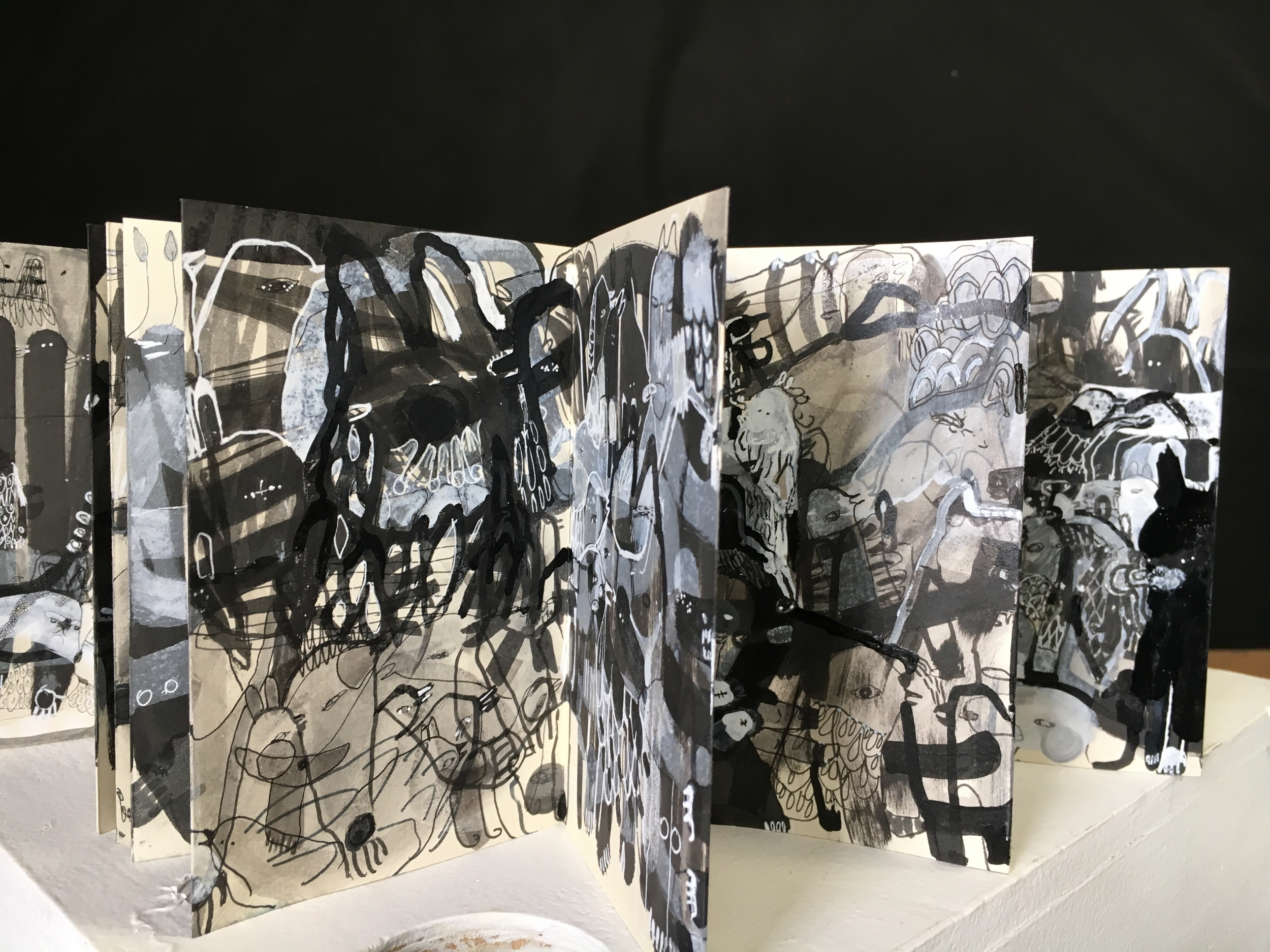 Orihon Miniature   Accordion Book 1 - Birds and Beasts     3.5 x 5.5 inches (60 pages)   Ink, dye and watercolor on 11lb cream drawing paper    2015