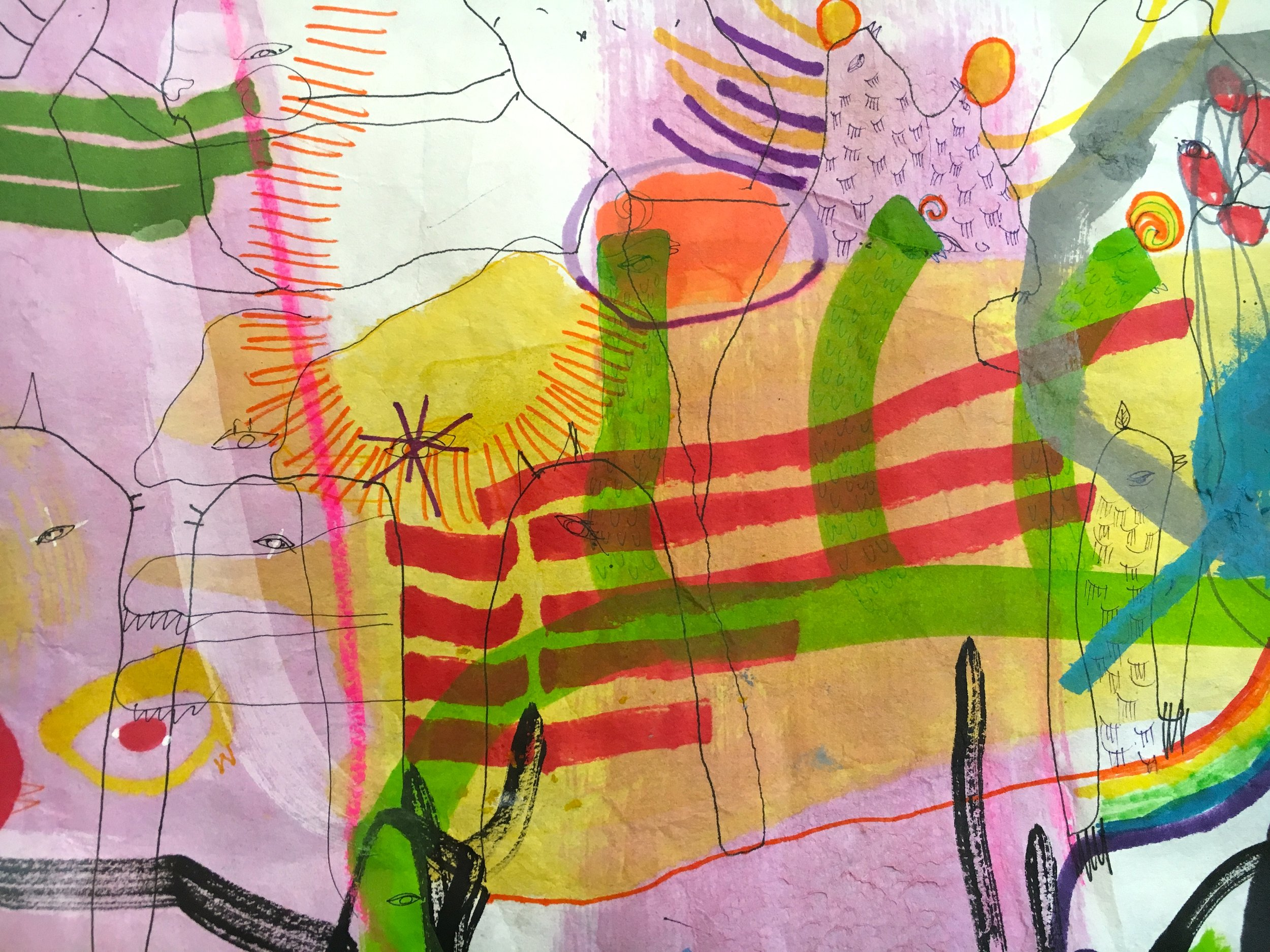 Animal Animal Animal  scroll 12 inches x 60 feet ink, dye, watercolor, crayon and pencil on mulberry scroll with redwood rollers 2018