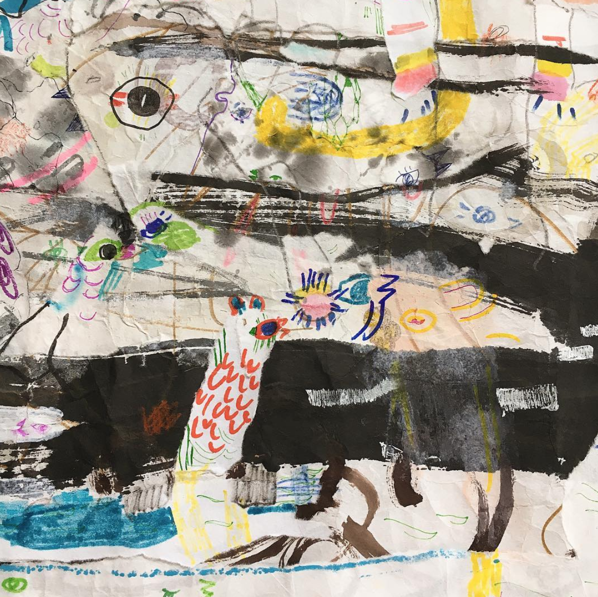 Up Above and All Around, Scroll   Ink, crayon, dye, watercolor, acrylic, pencil, and rice paper on mulberry paper 2.5 x 30 feet*