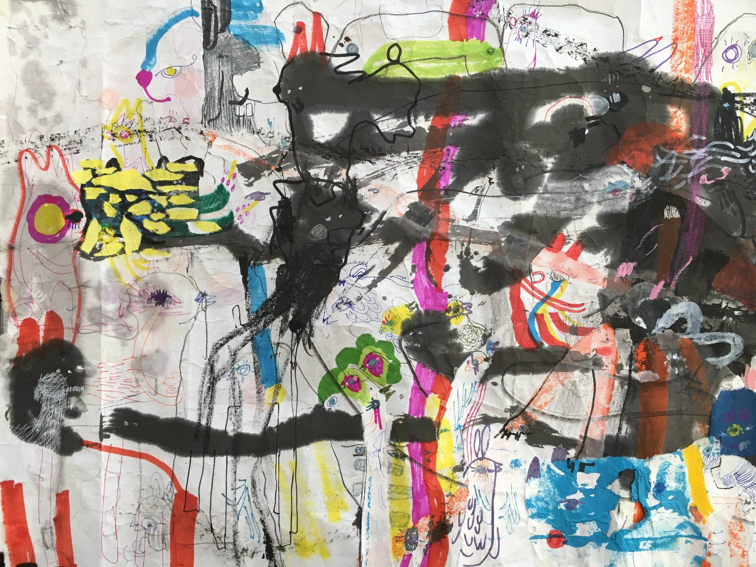 Up Above and All Around, Scroll Section 1  Ink, crayon, dye, watercolor, acrylic, pencil, and rice paper on mulberry paper 2.5 x 30 feet*