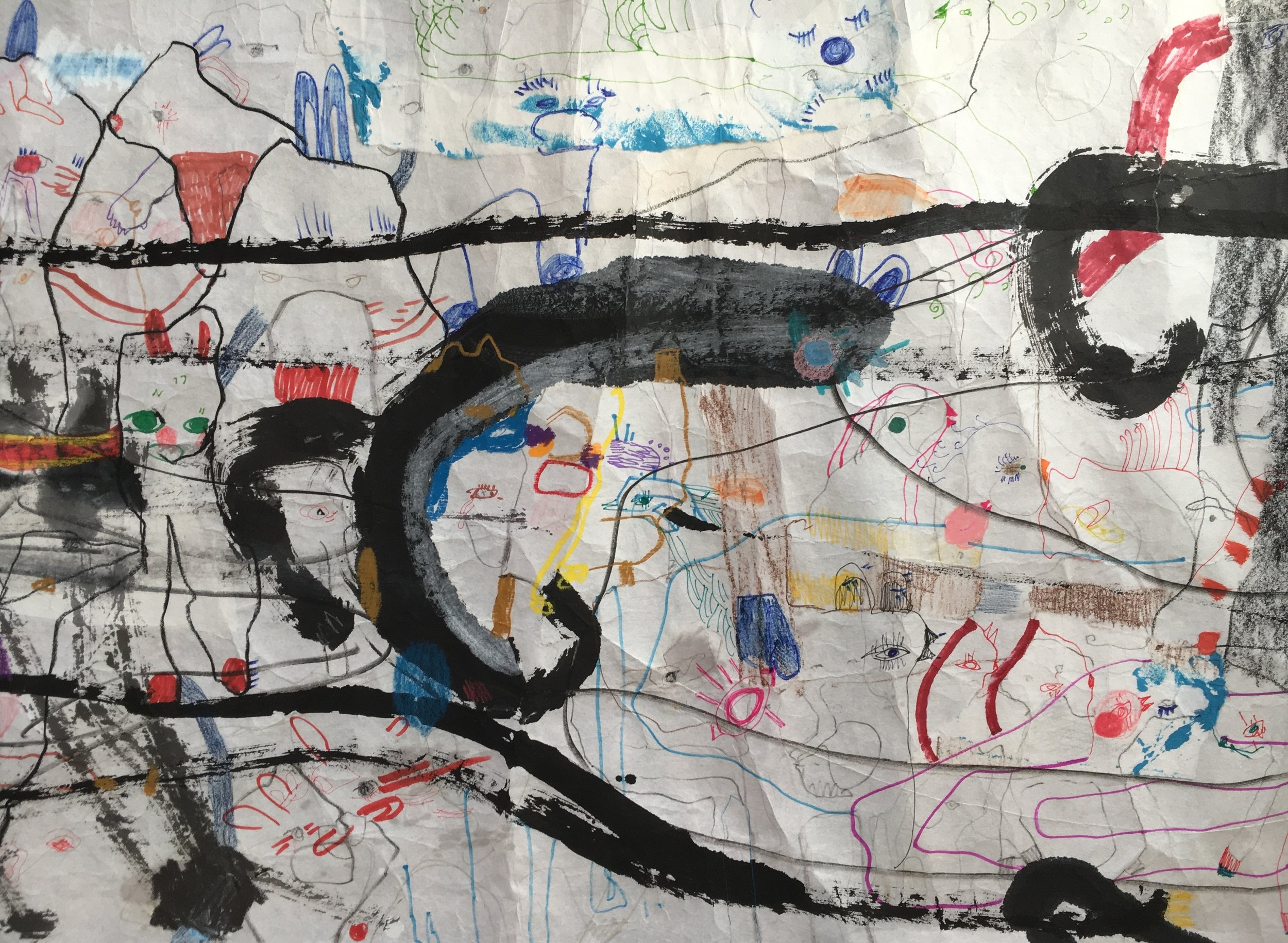 Up Above and All Around, Scroll Section 4  Ink, crayon, dye, watercolor, acrylic, pencil, and rice paper on mulberry paper 2.5 x 30 feet*