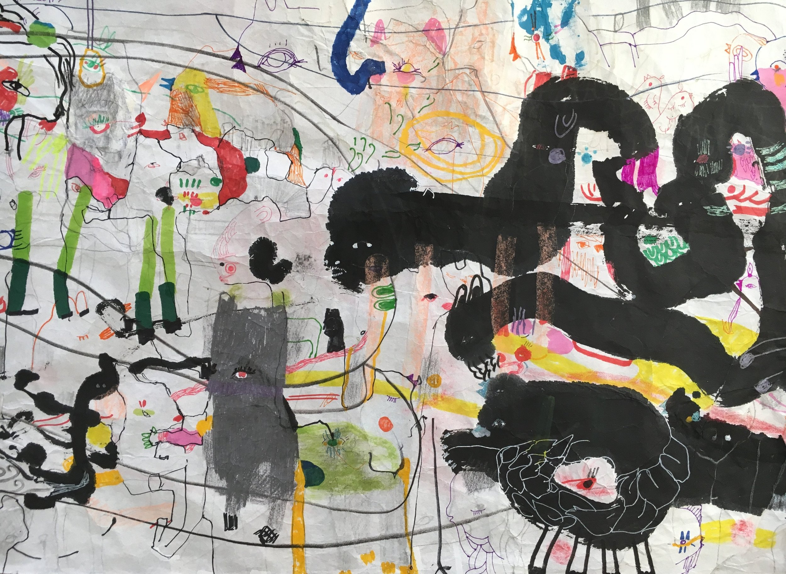 Up Above and All Around, Scroll Section 9  Ink, crayon, dye, watercolor, acrylic, pencil, and rice paper on mulberry paper 2.5 x 30 feet*