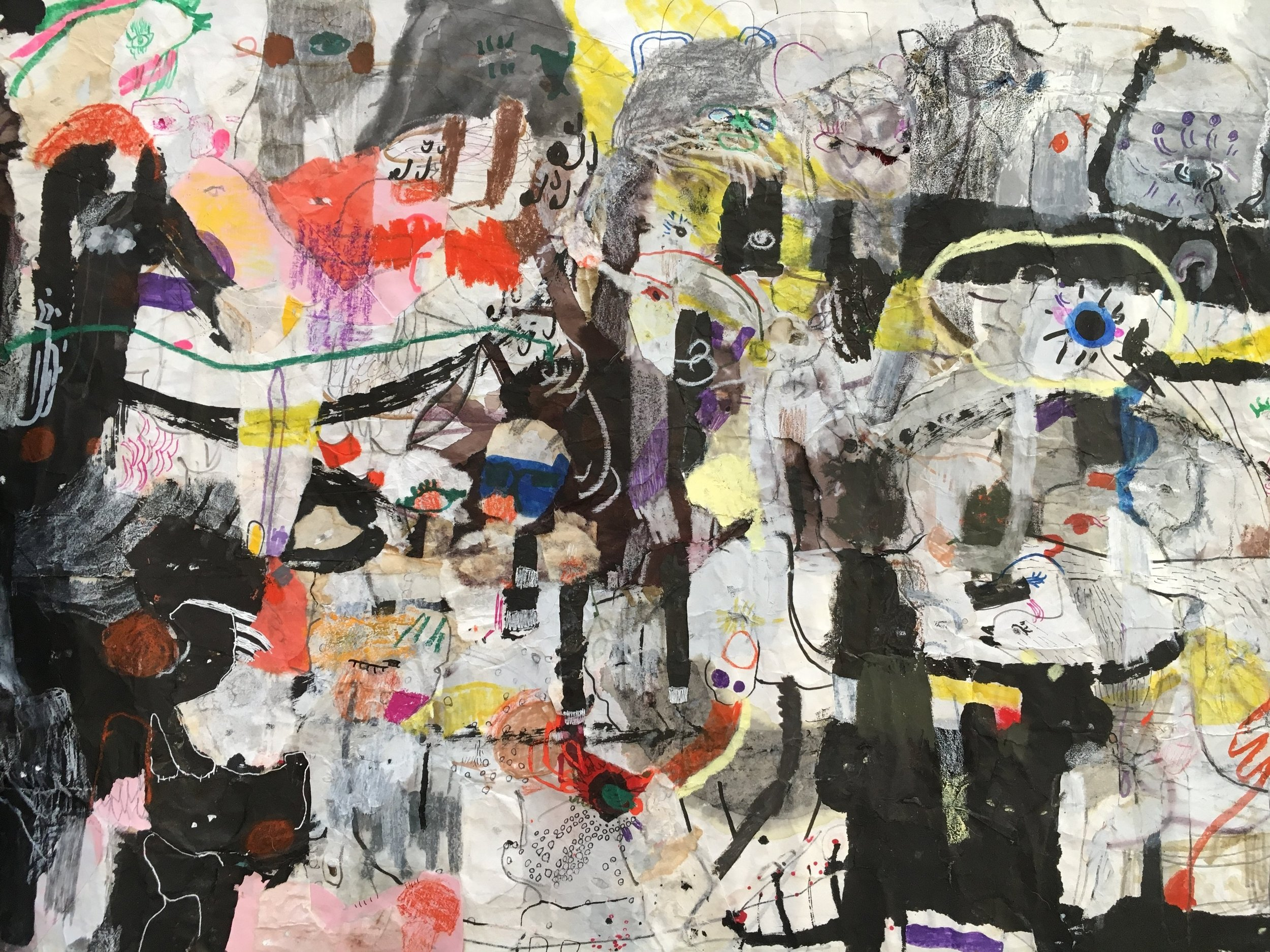 Up Above and All Around, Scroll Section 14  Ink, crayon, dye, watercolor, acrylic, pencil, and rice paper on mulberry paper 2.5 x 30 feet*