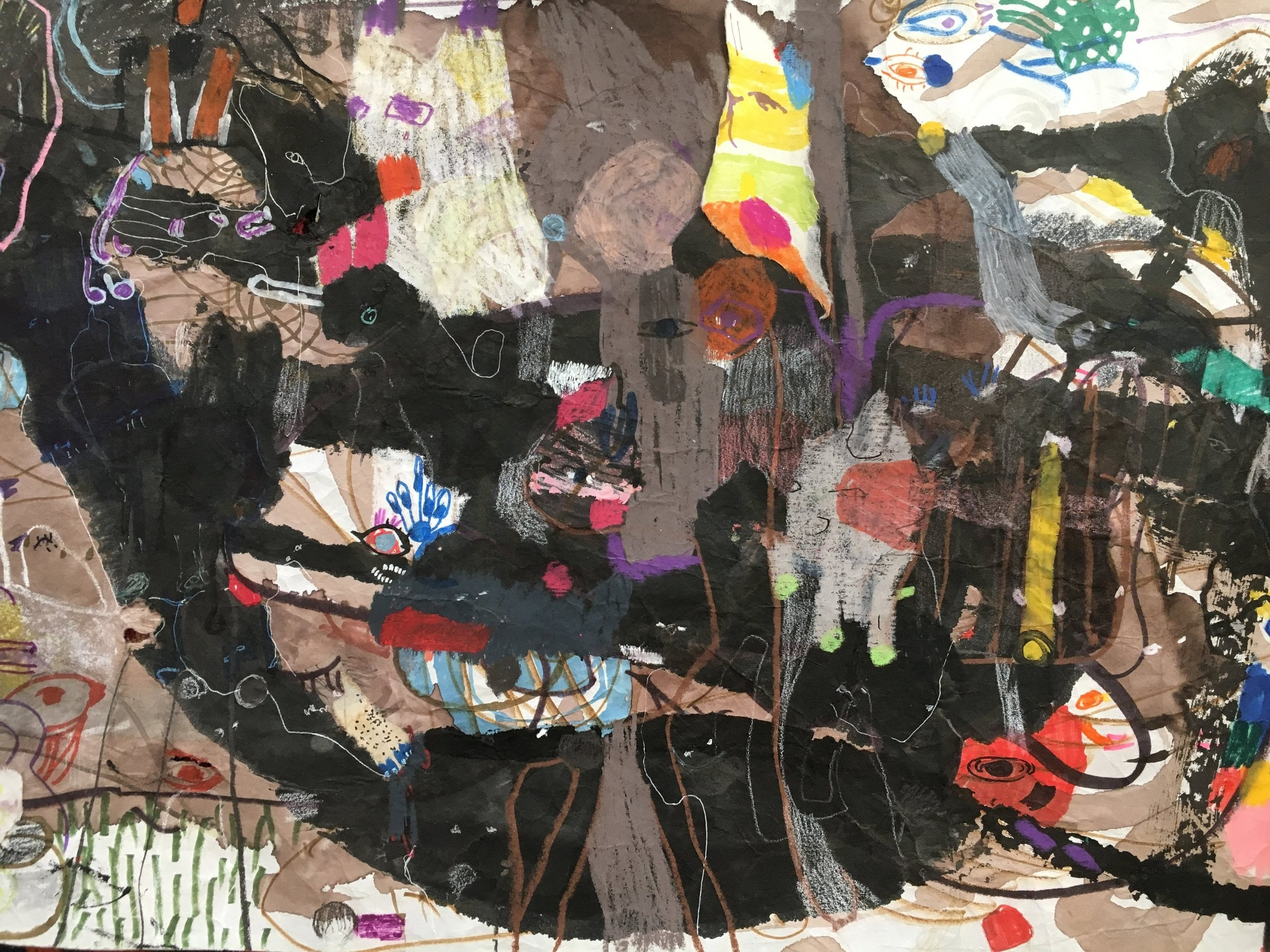 Up Above and All Around, Scroll Section 16  Ink, crayon, dye, watercolor, acrylic, pencil, and rice paper on mulberry paper 2.5 x 30 feet*