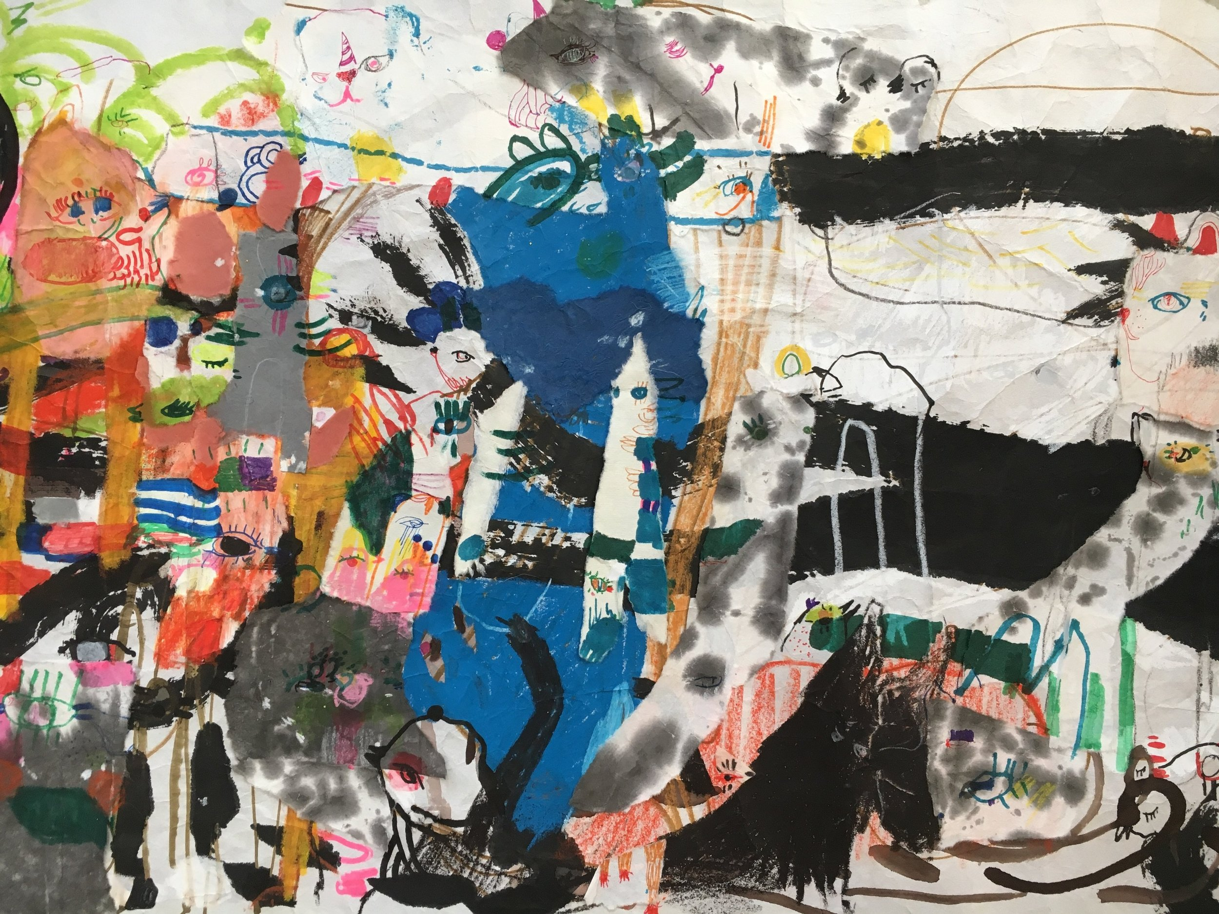 Up Above and All Around, Scroll Section 19  Ink, crayon, dye, watercolor, acrylic, pencil, and rice paper on mulberry paper 2.5 x 30 feet*