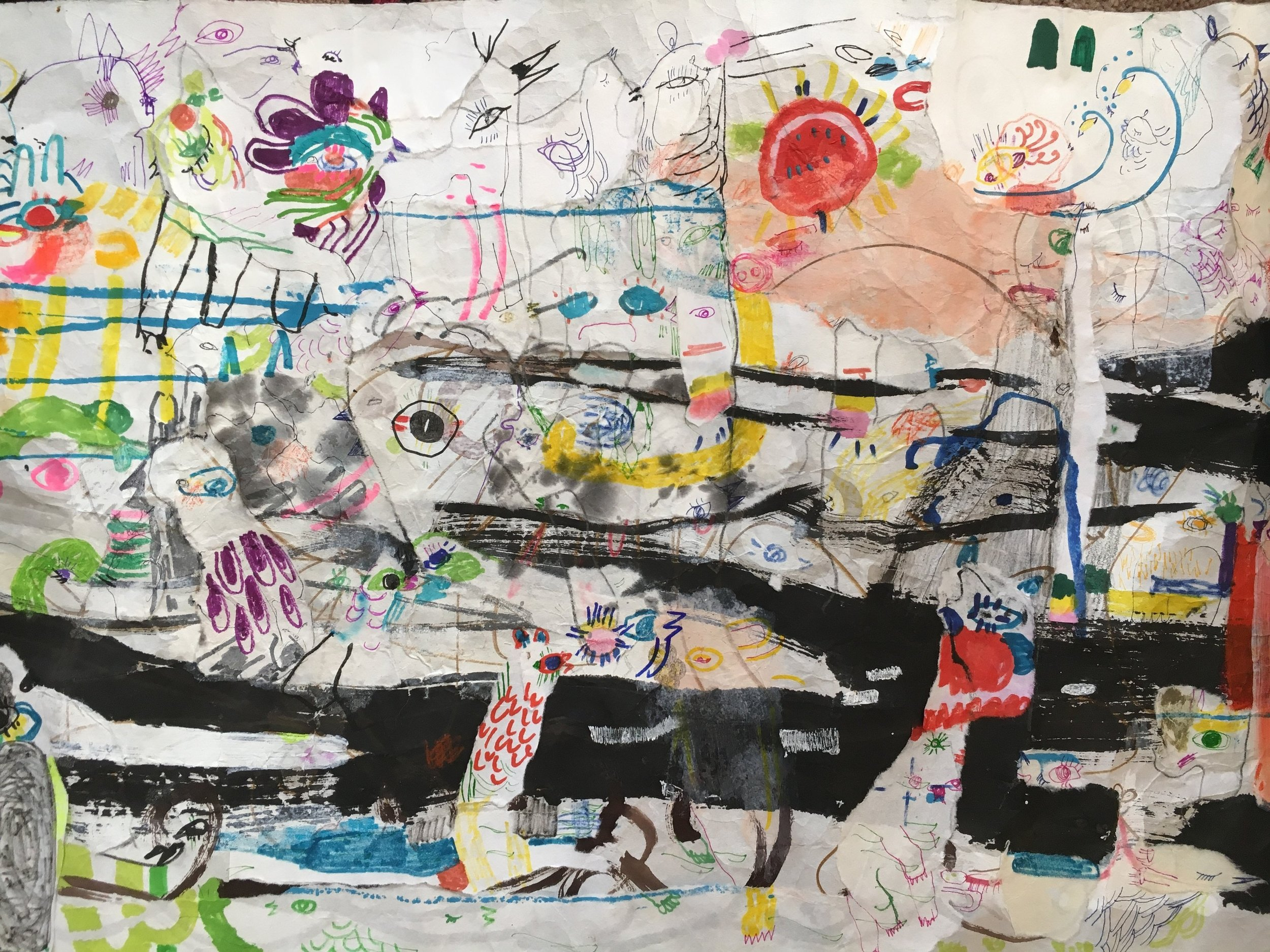 Up Above and All Around, Scroll Section 22  Ink, crayon, dye, watercolor, acrylic, pencil, and rice paper on mulberry paper 2.5 x 30 feet*
