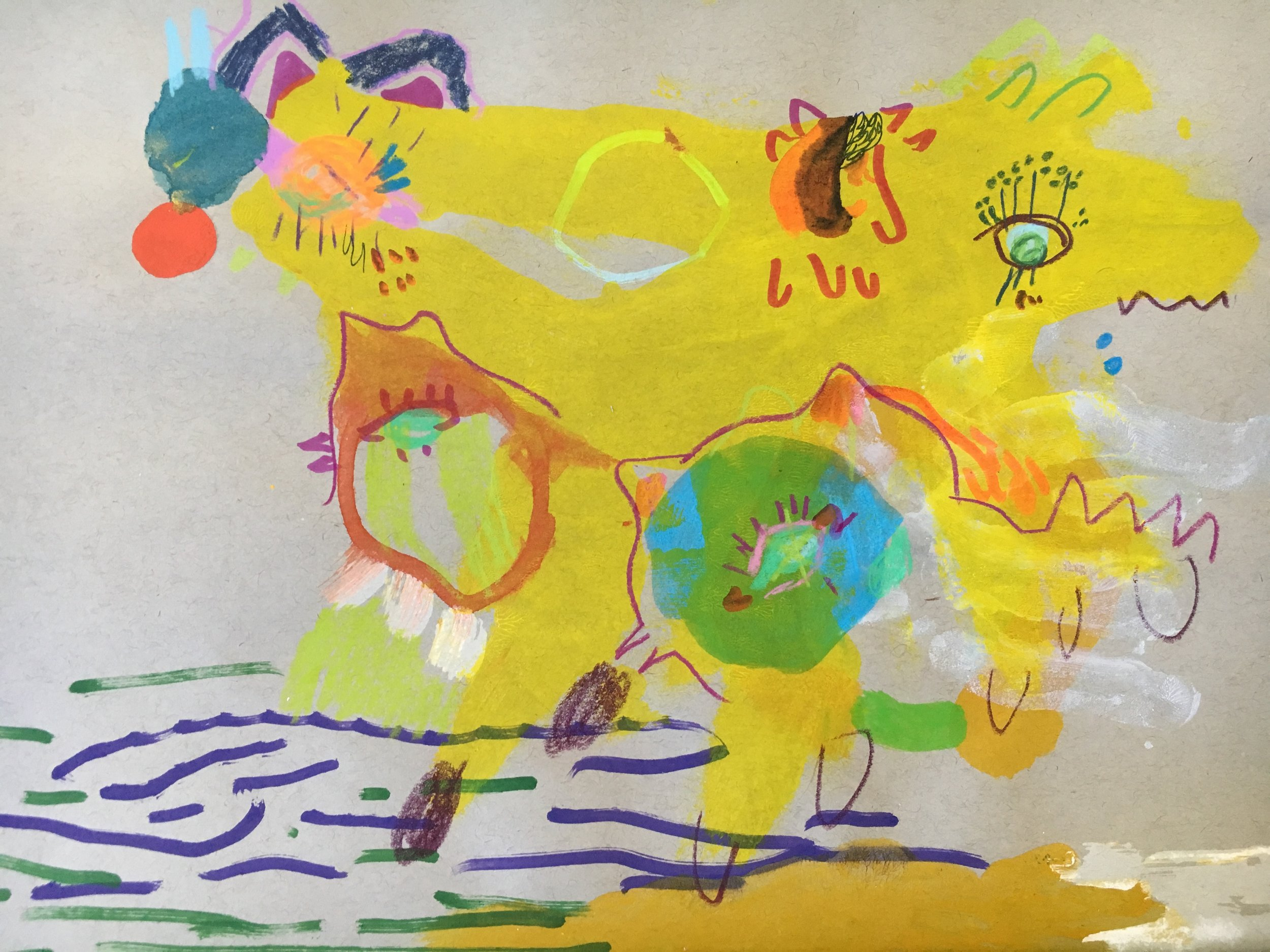 TWO HEADED DOG WITH BIRD BABIES   Watercolor, acrylic, crayon, ink and dye on grey paper 12 x 9 inches